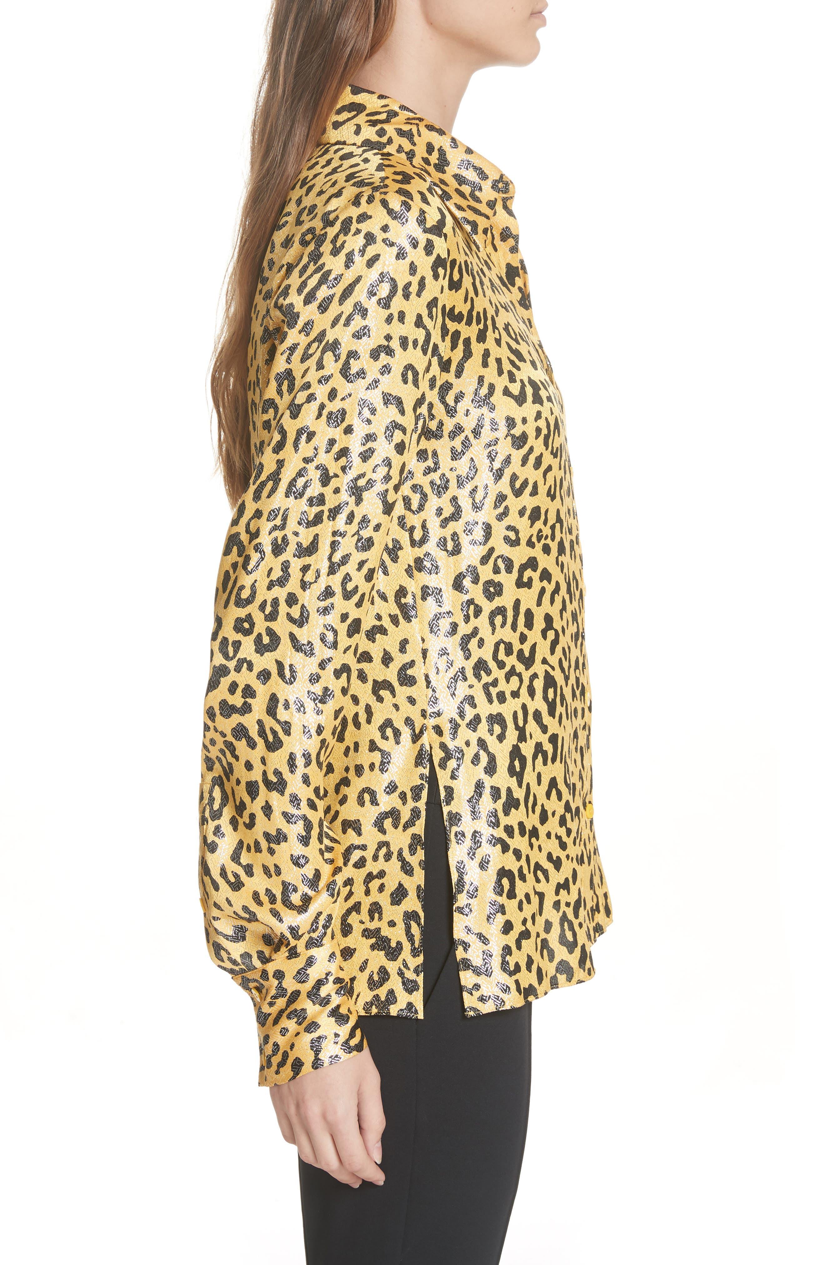 Leopard Print Silk & Metallic Shirt,                             Alternate thumbnail 3, color,                             HEYFORD GO