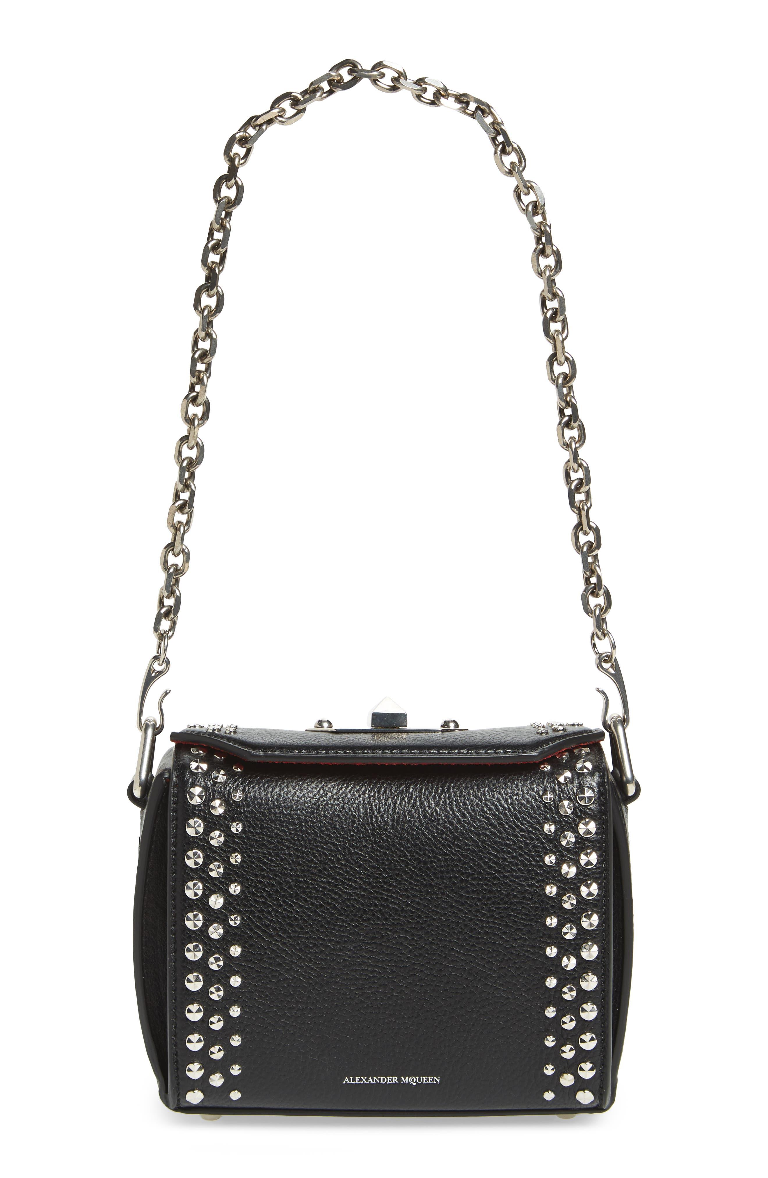 Box Bag 16 Studded Leather Bag,                             Alternate thumbnail 3, color,                             BLACK