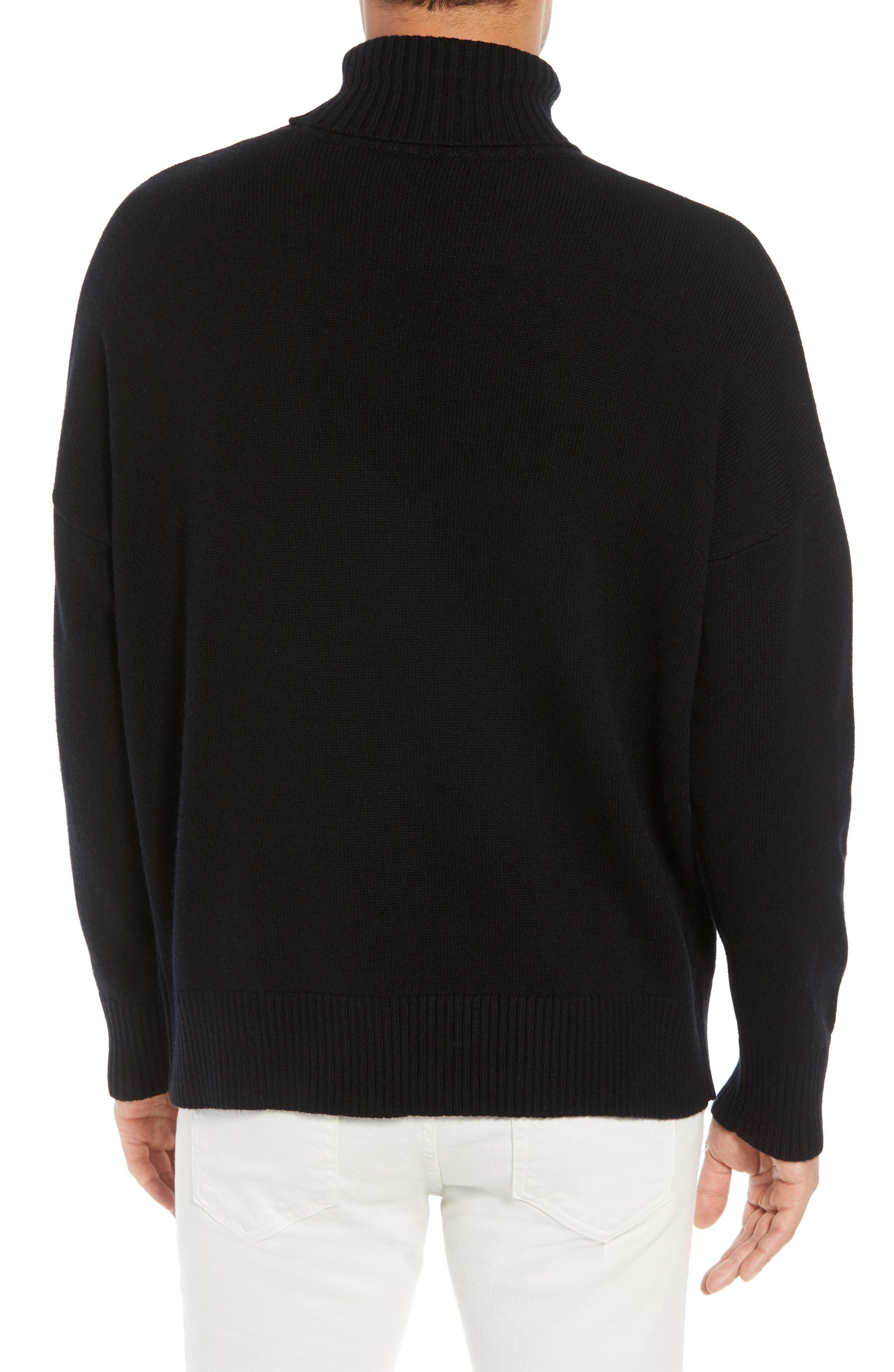 Wool & Cashmere Turtleneck Sweater,                             Alternate thumbnail 2, color,                             BLACK