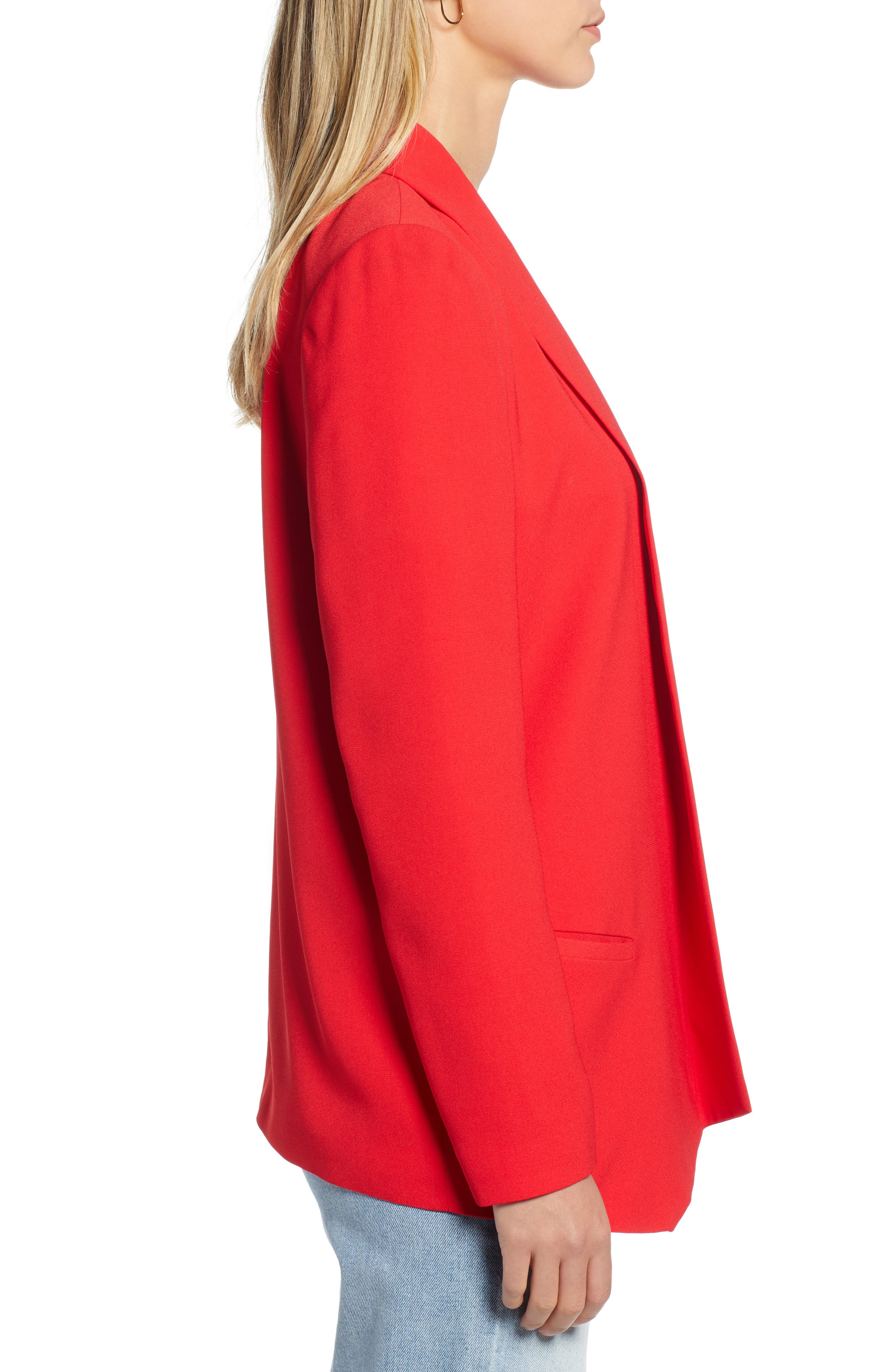 Shawl Collar Blazer,                             Alternate thumbnail 3, color,                             RED CHINOISE