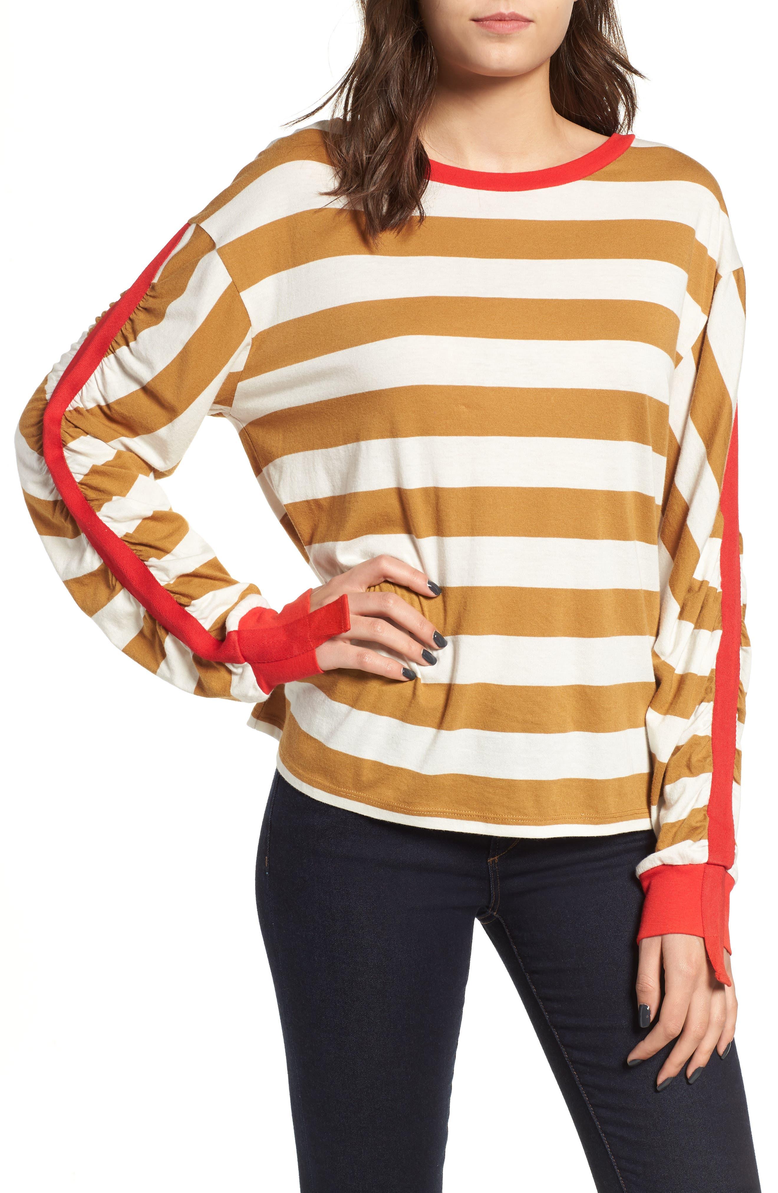 Cinch Sleeve Stripe Tee, Main, color, BROWN CATTAIL IRENE STRIPE