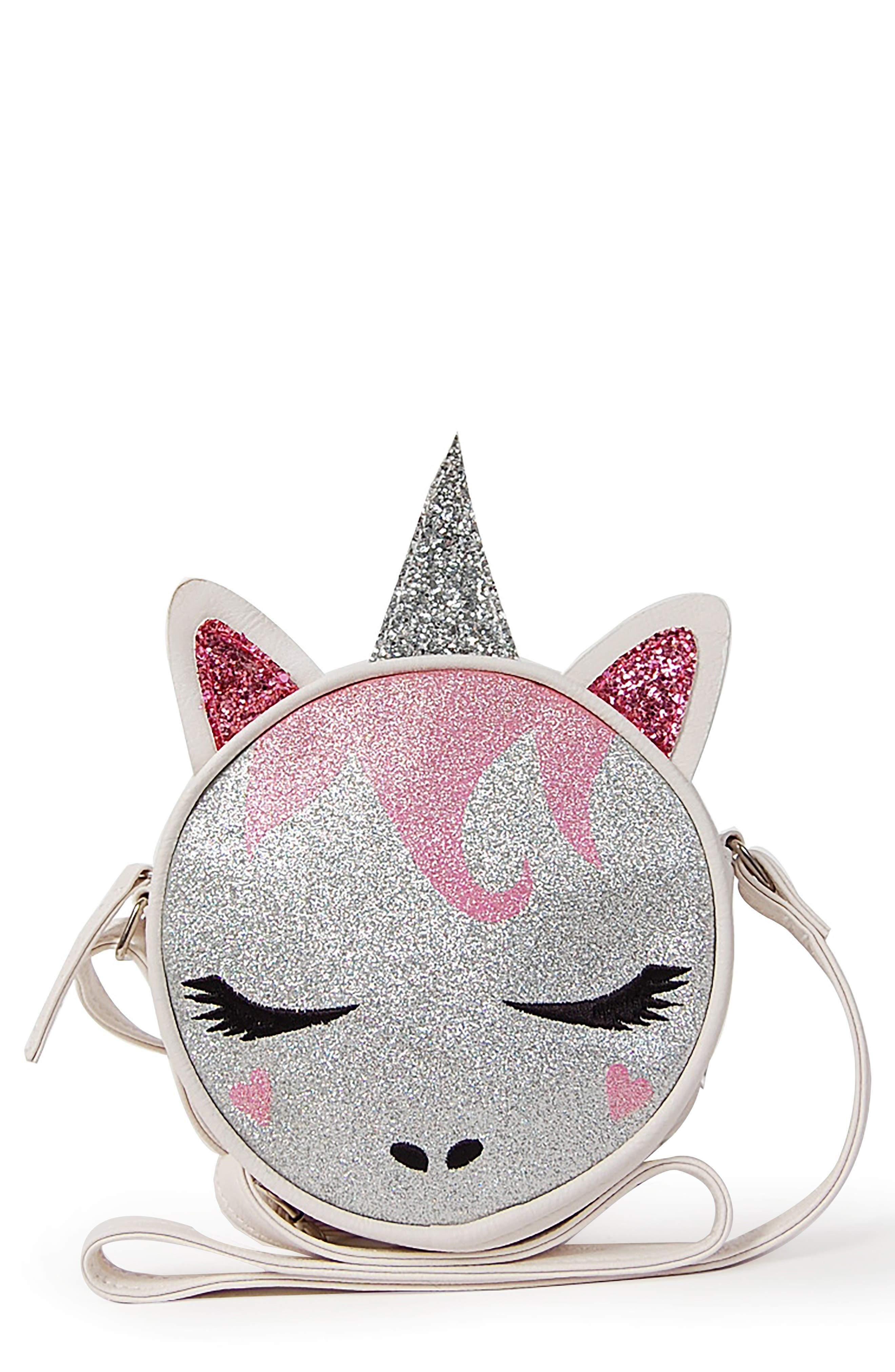 OMG,                             Glitter Unicorn Crossbody Bag,                             Main thumbnail 1, color,                             SILVER