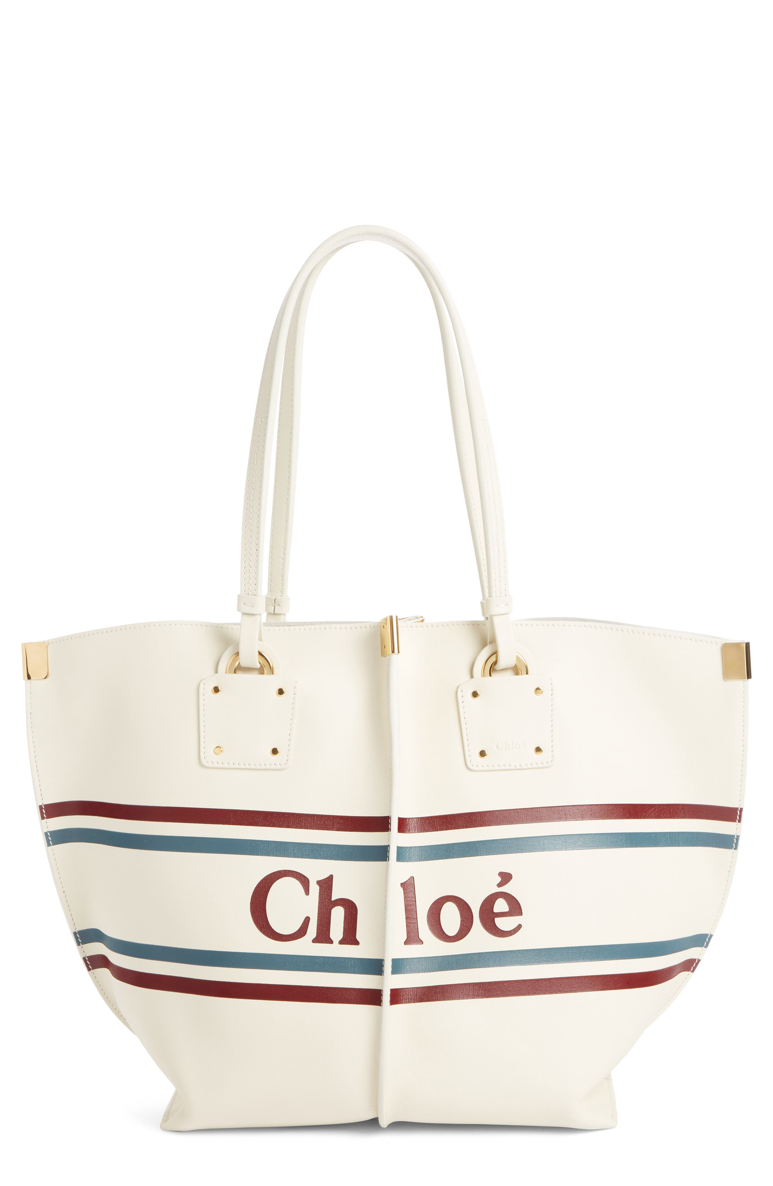 Vick Logo Embossed Leather Tote,                         Main,                         color, OFF WHITE