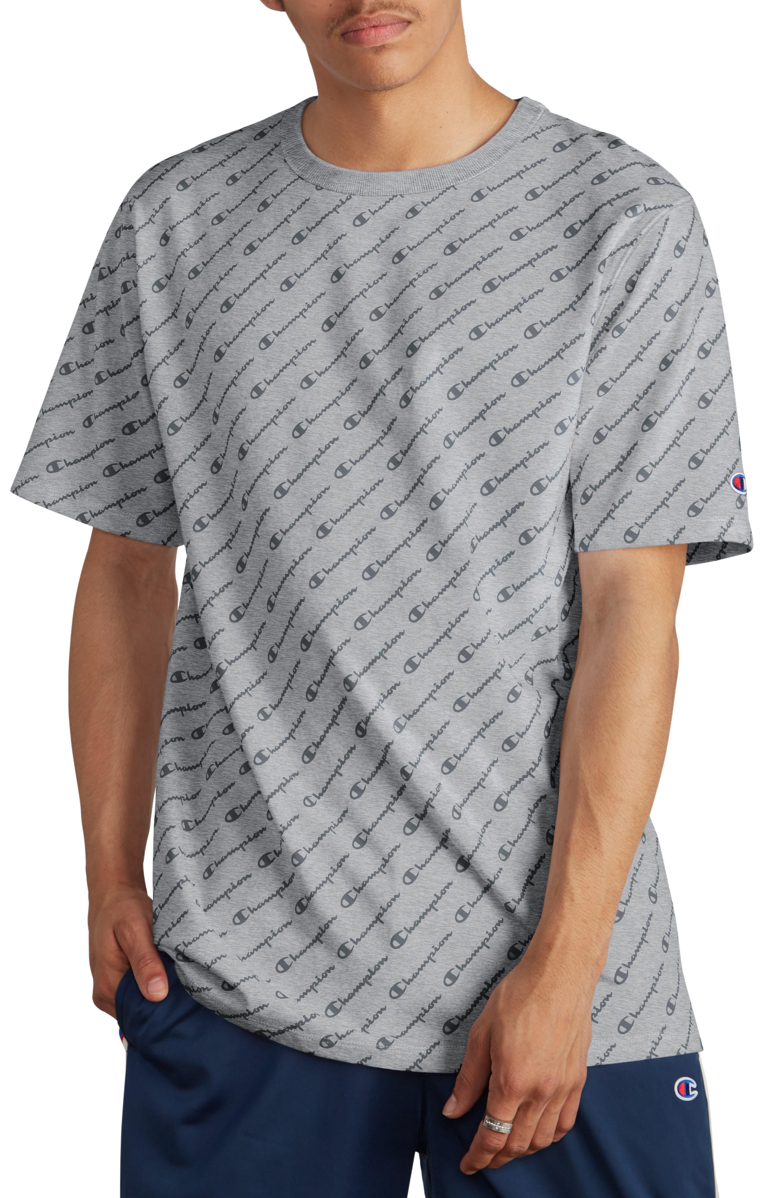 All Over Logo Print T-Shirt,                         Main,                         color, DIAGONAL SCRIPT OXFORD GREY