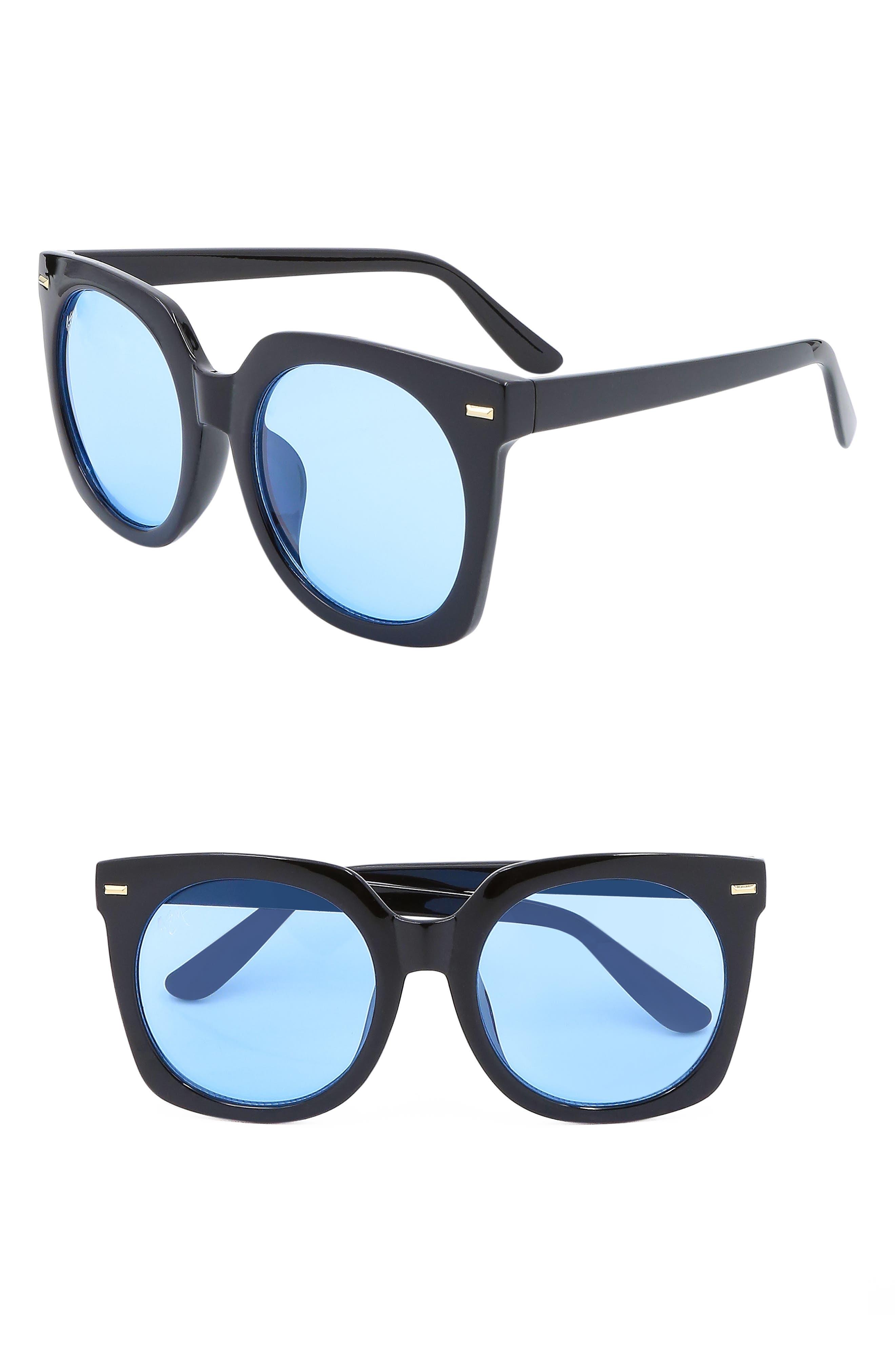 Nem Melrose 55Mm Square Sunglasses - Black W Sky Blue Tint Lens