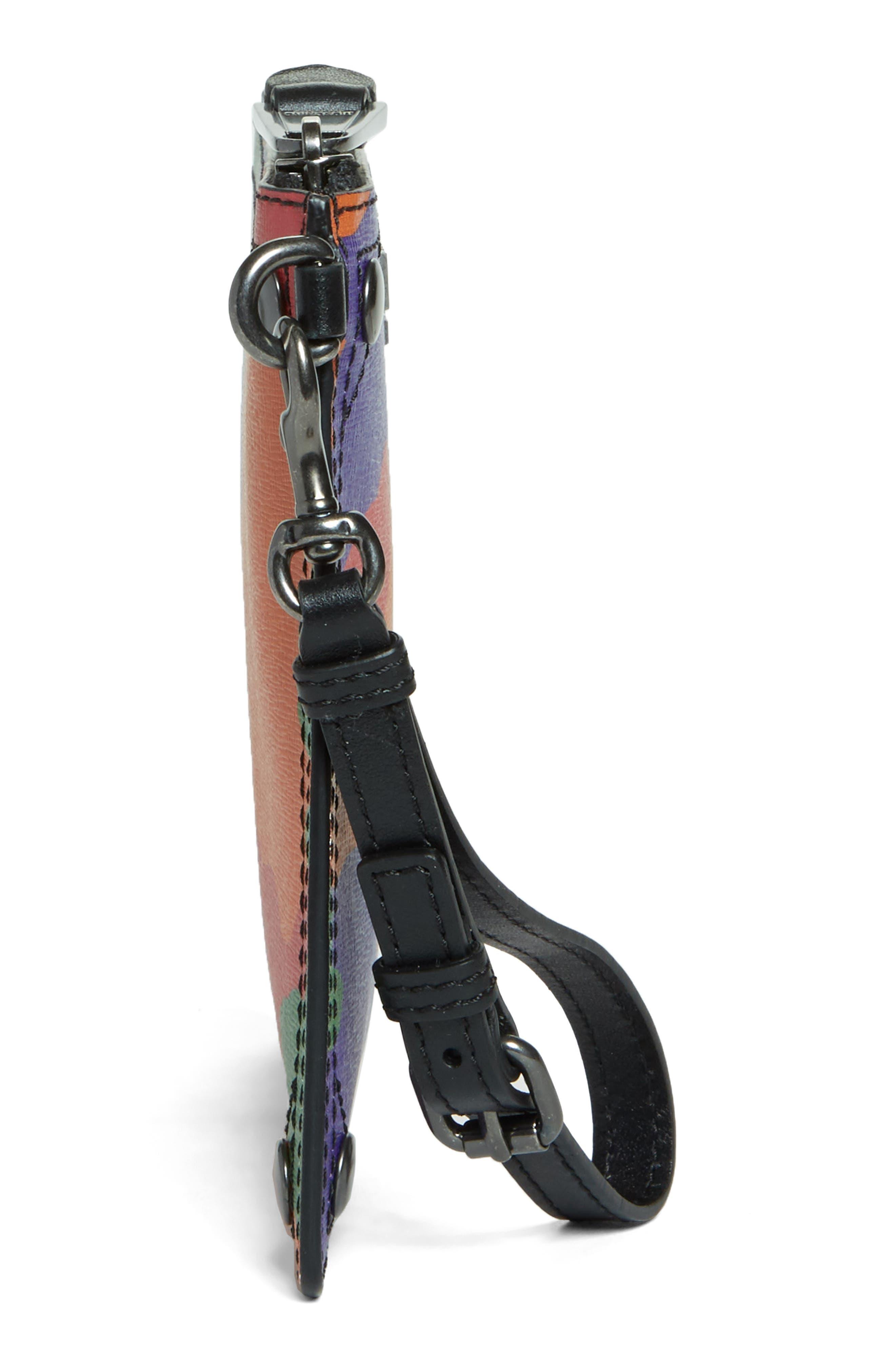 Multi Camo Print Leather Zip Pouch Wristlet,                             Alternate thumbnail 5, color,                             641