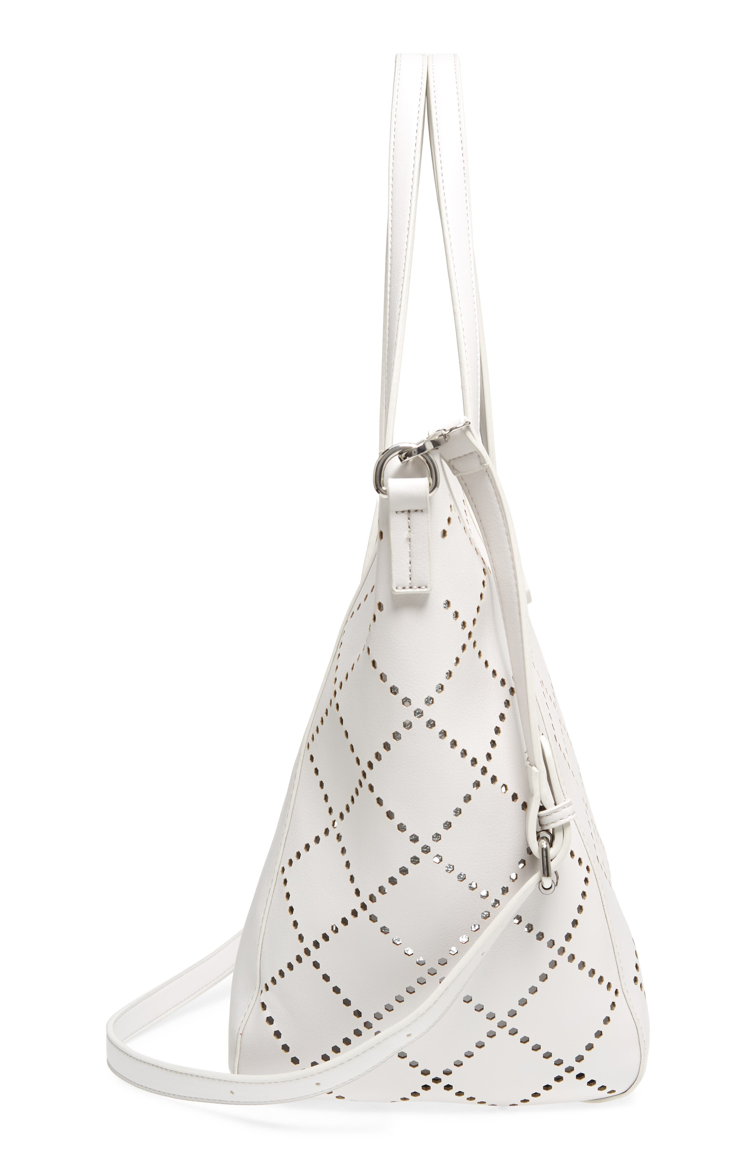 Perforated Faux Leather Tote,                             Alternate thumbnail 7, color,