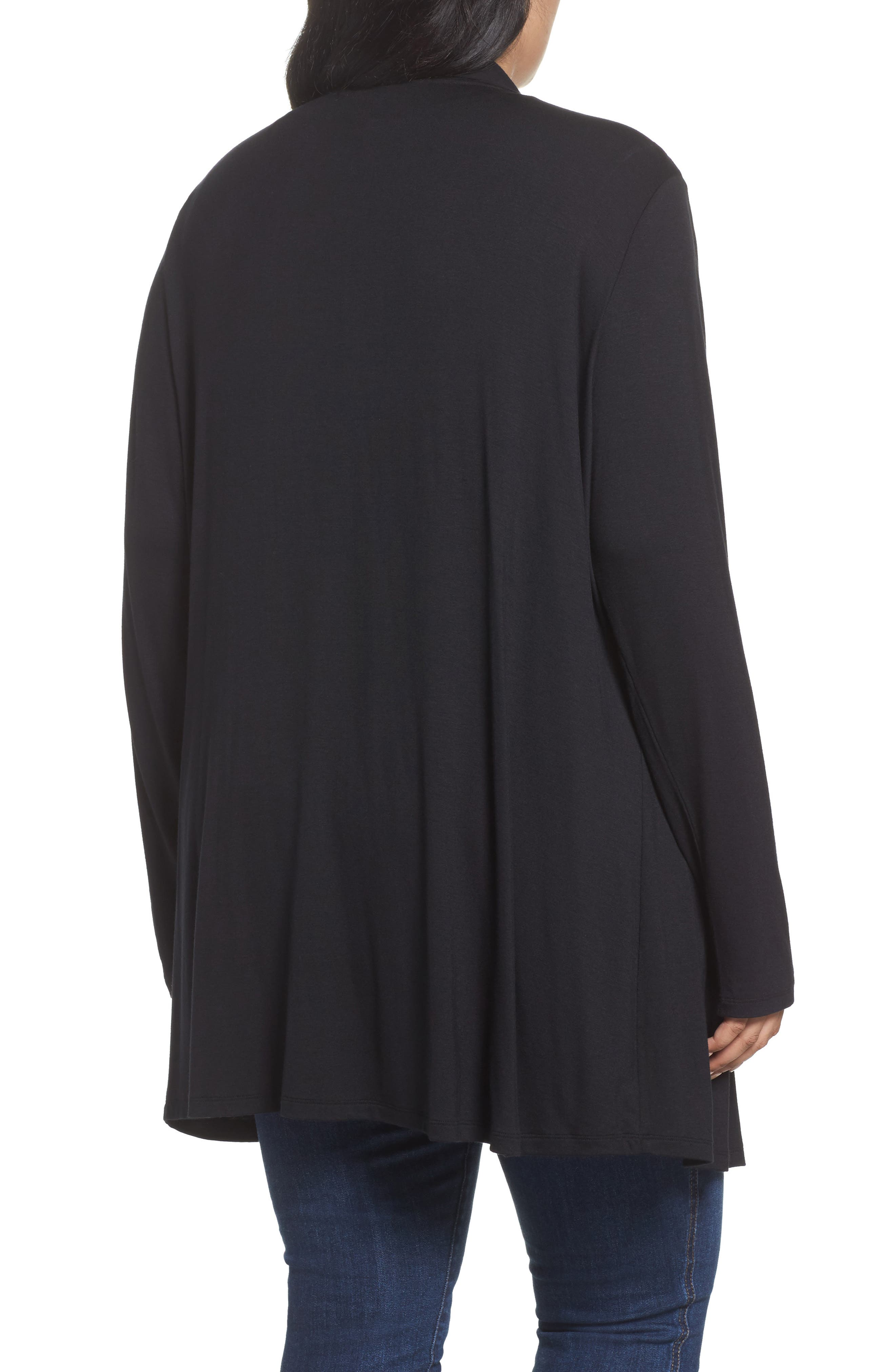 Waterfall Drape Front Cardigan,                             Alternate thumbnail 2, color,                             BLACK