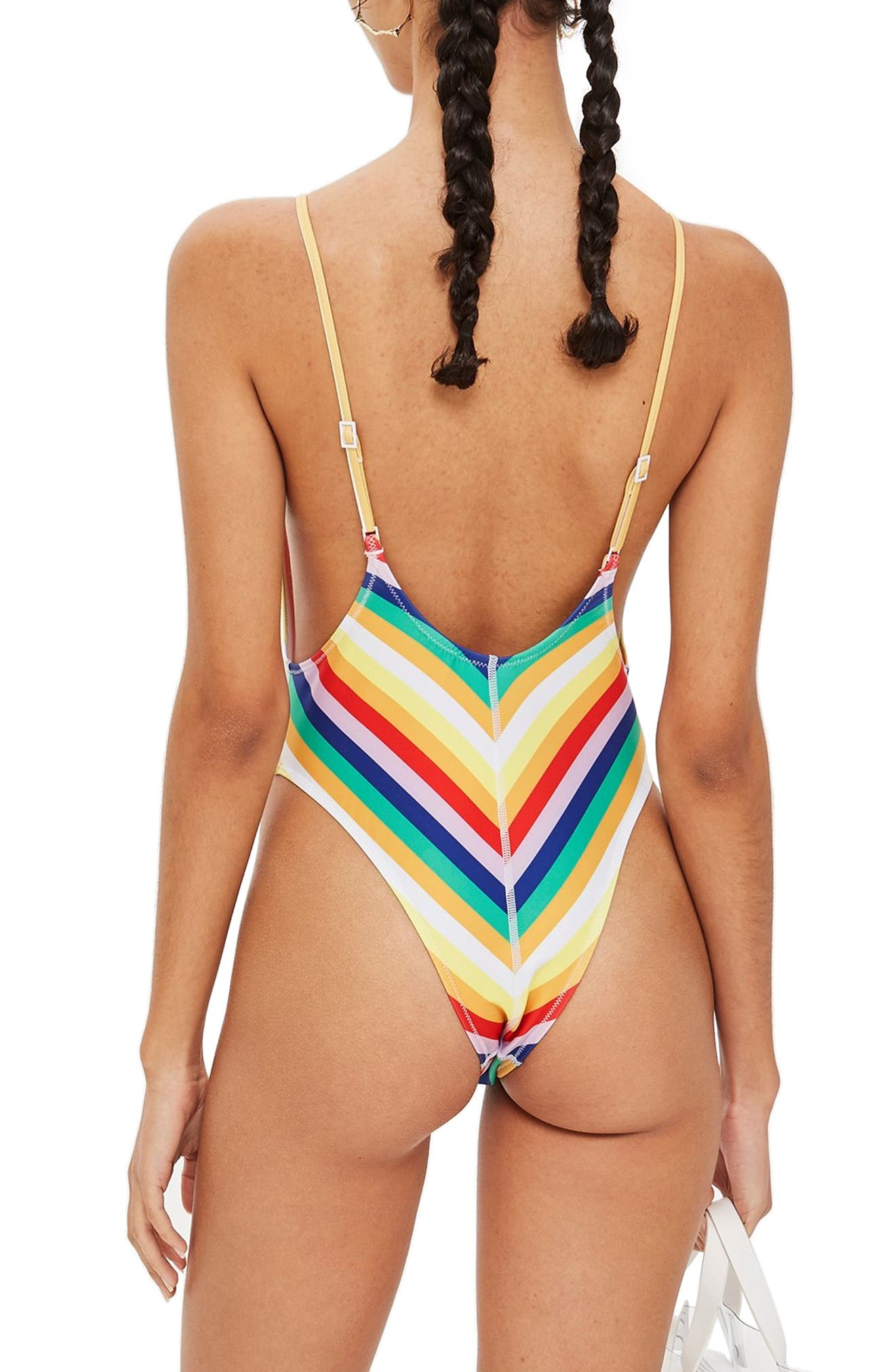 Stripe Plunge One-Piece Swimsuit,                             Alternate thumbnail 2, color,                             YELLOW MULTI