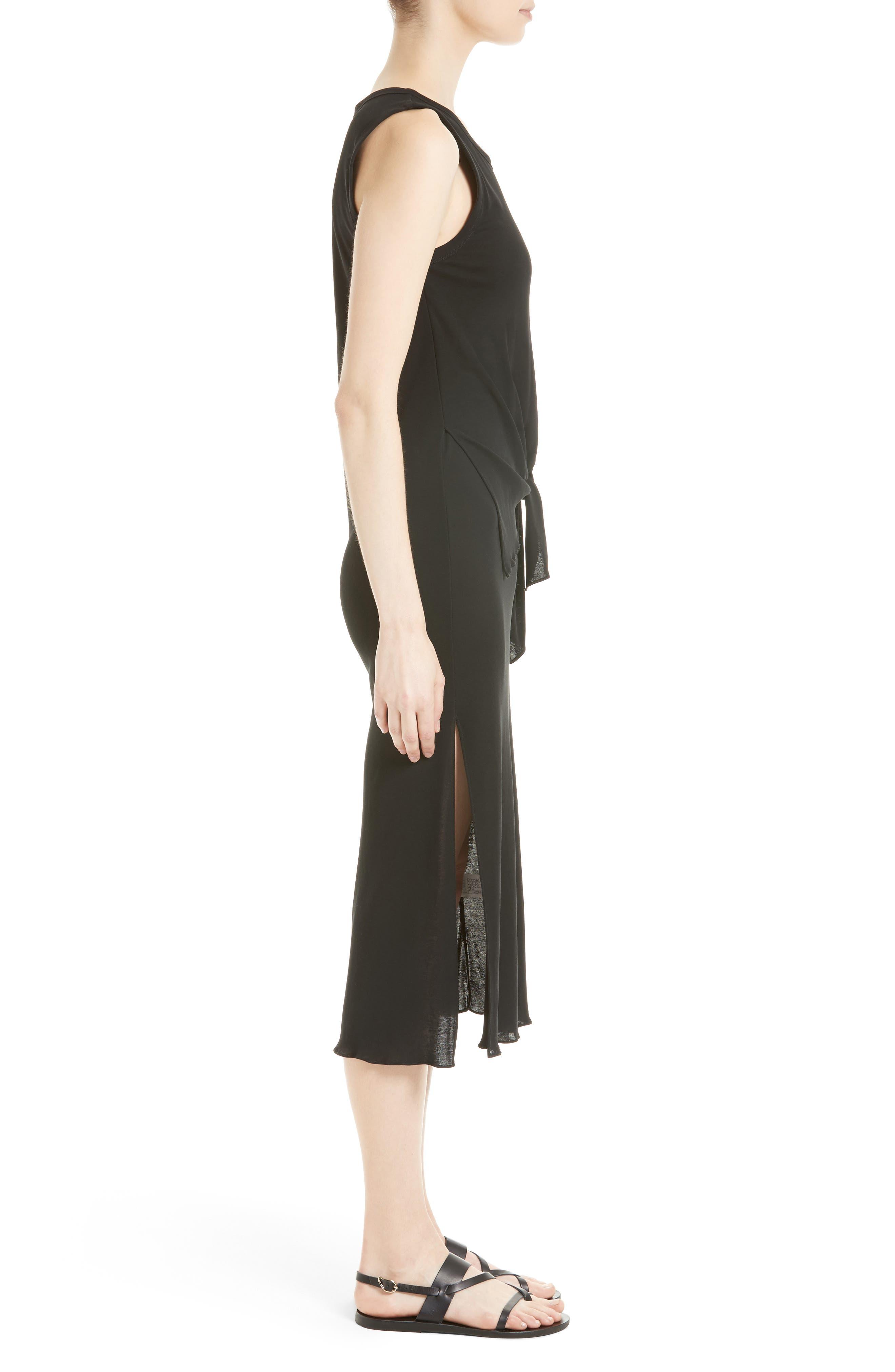 Dorotea K Tie Front Cotton Interlock Dress,                             Alternate thumbnail 3, color,                             001