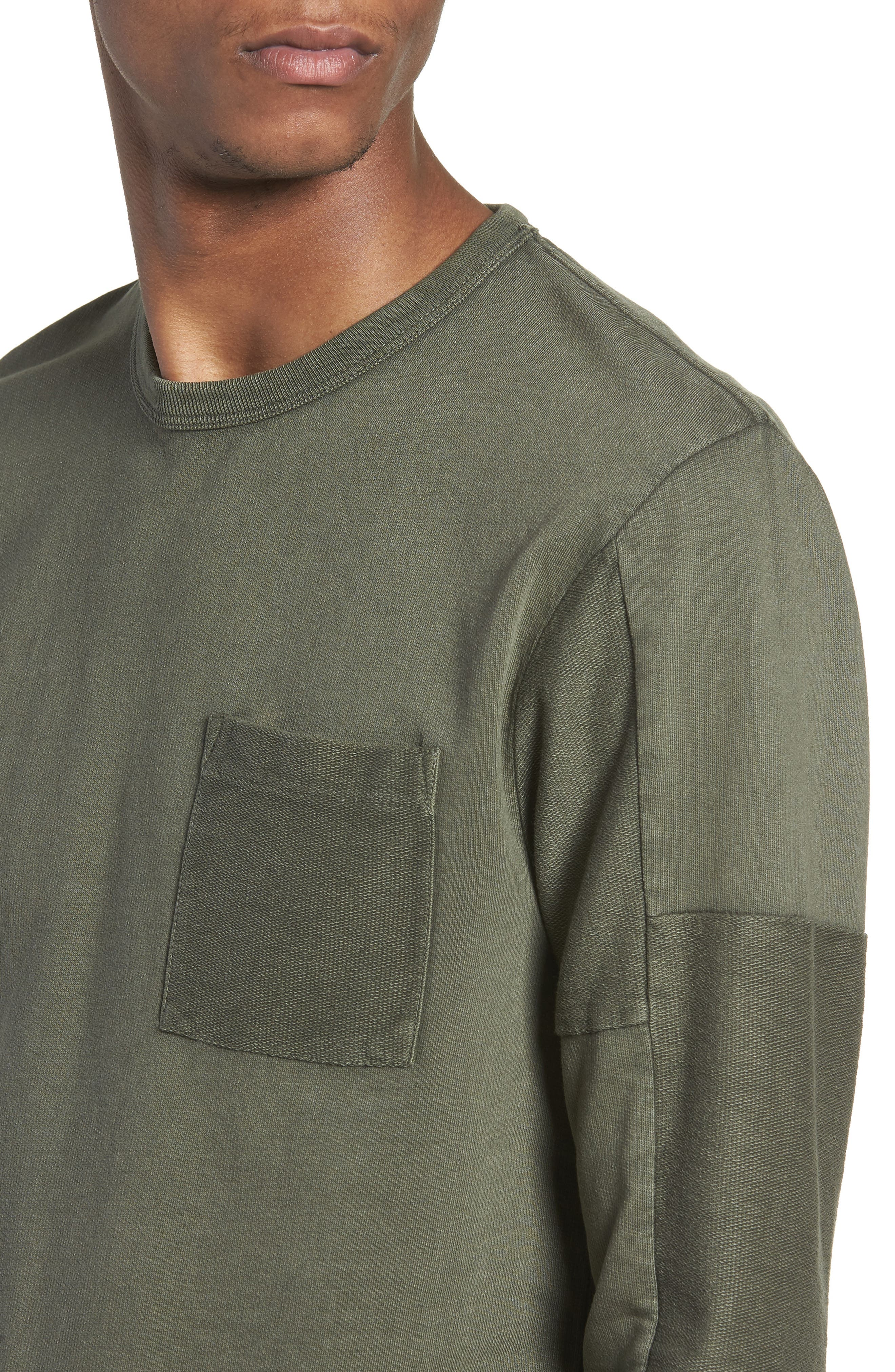 Patchwork Long Sleeve T-Shirt,                             Alternate thumbnail 4, color,                             COMBAT