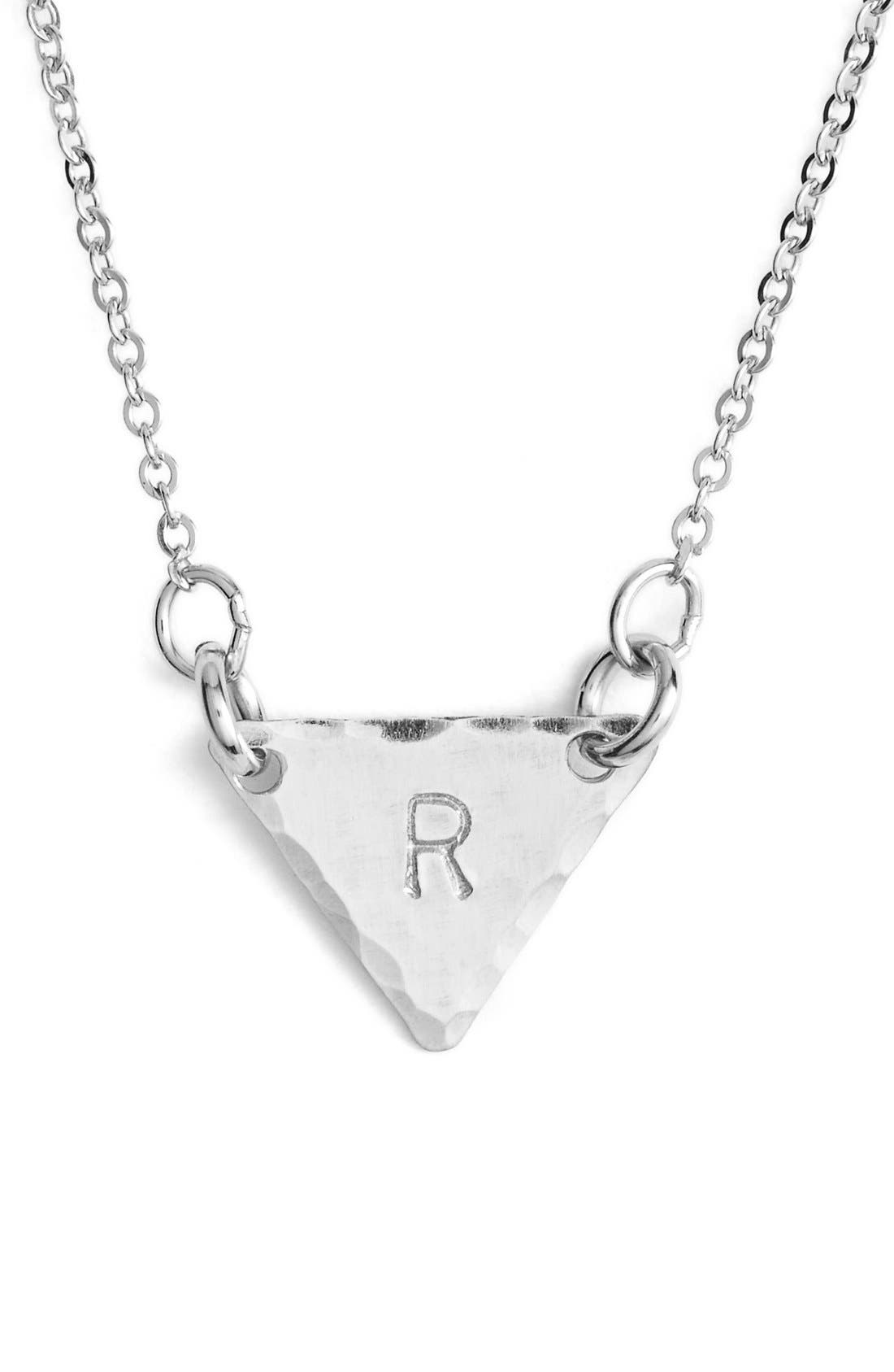 Sterling Silver Initial Mini Triangle Necklace,                             Main thumbnail 18, color,