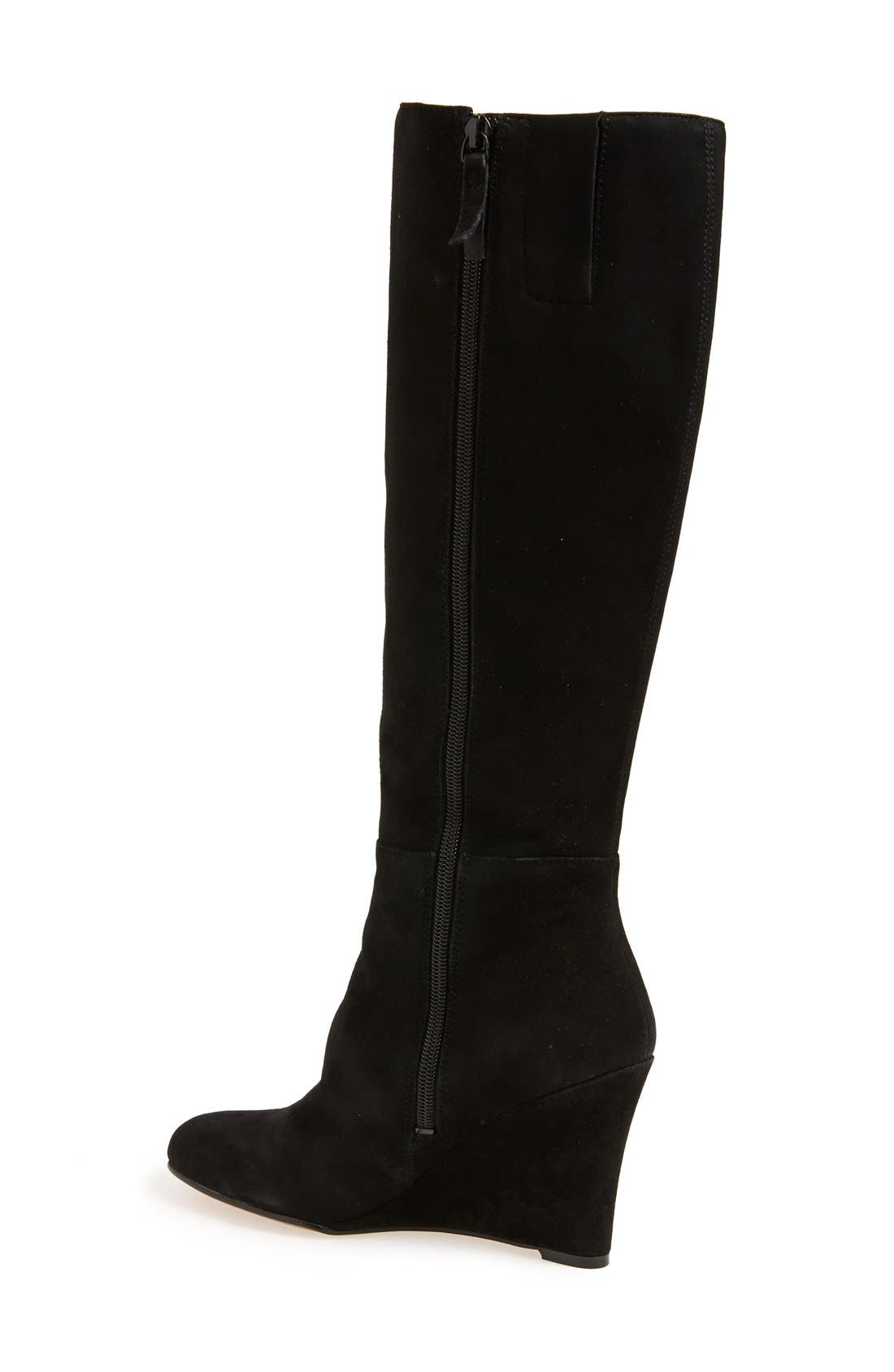 'Oran' Tall Wedge Boot,                             Alternate thumbnail 4, color,                             001