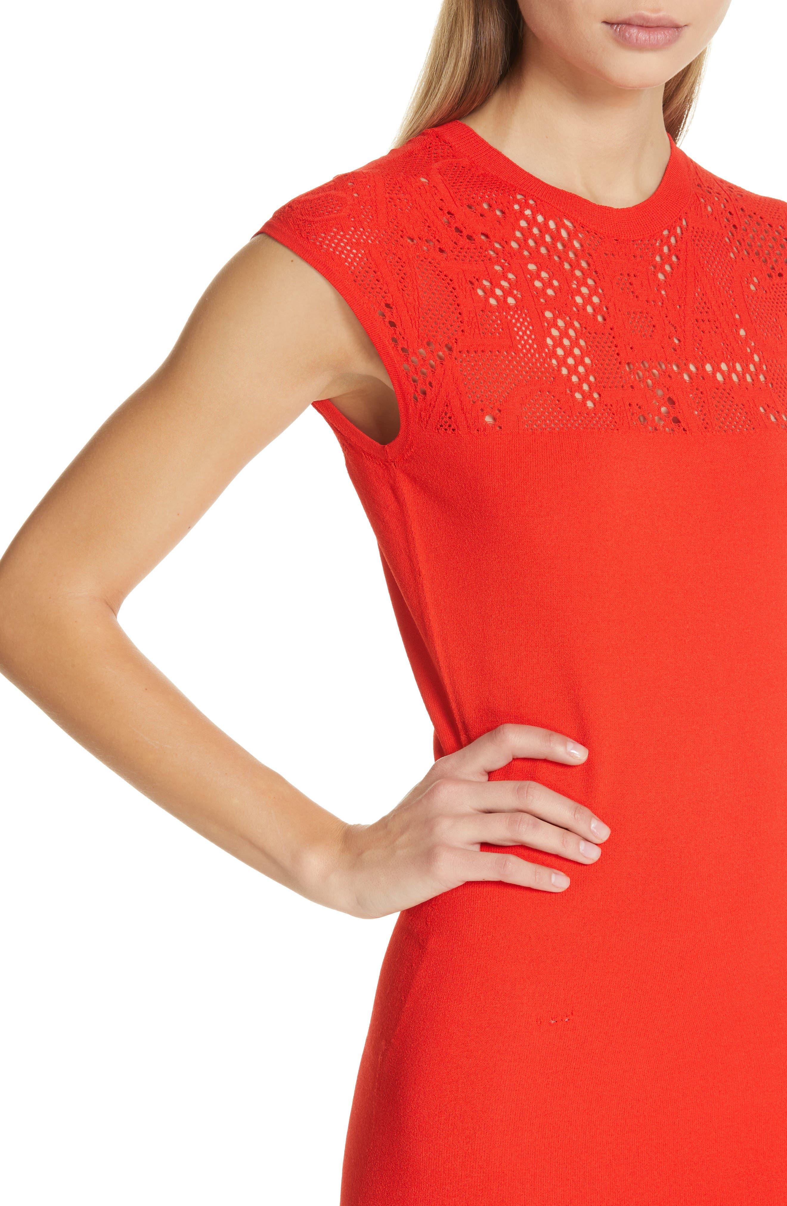 Versace Logo Mesh Panel Body-Con Dress,                             Alternate thumbnail 4, color,                             CORAL