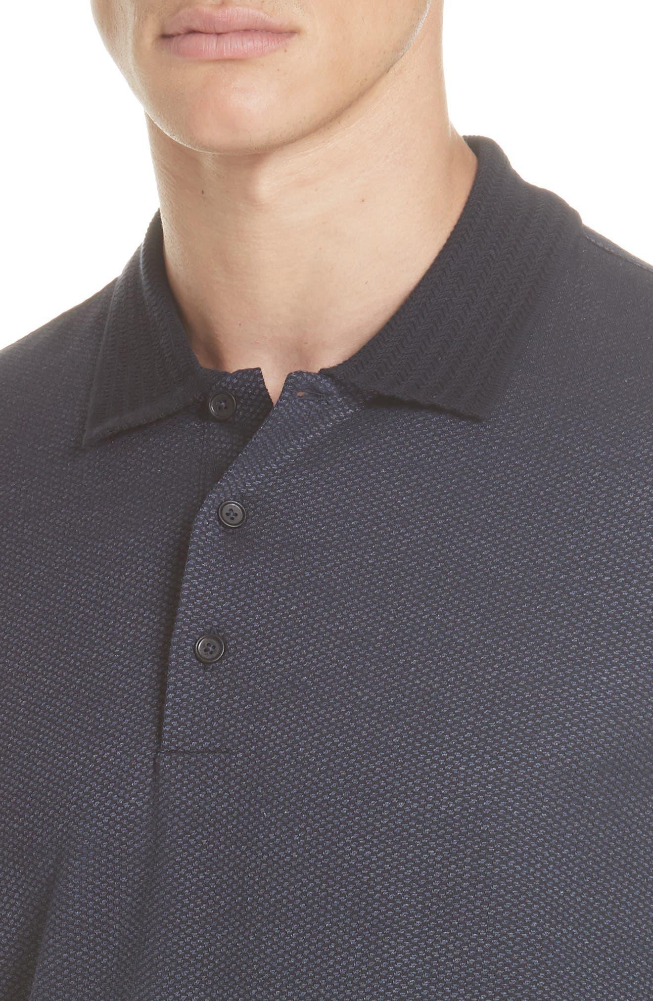 Cotton & Silk Polo Shirt,                             Alternate thumbnail 4, color,                             NAVY