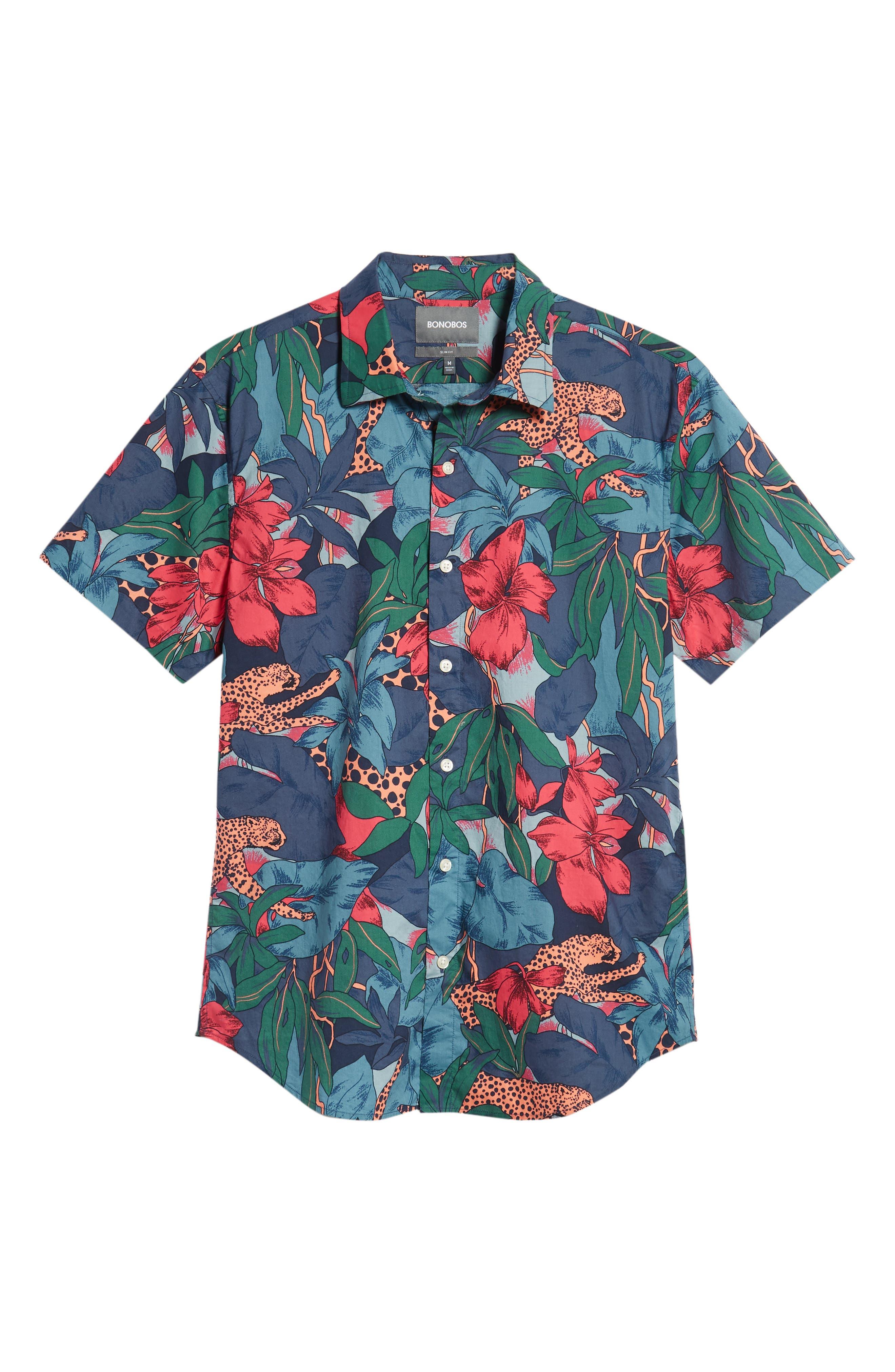 Riviera Slim Fit Leopard Floral Sport Shirt,                             Alternate thumbnail 5, color,                             WILD CATS - PEACH TWIG