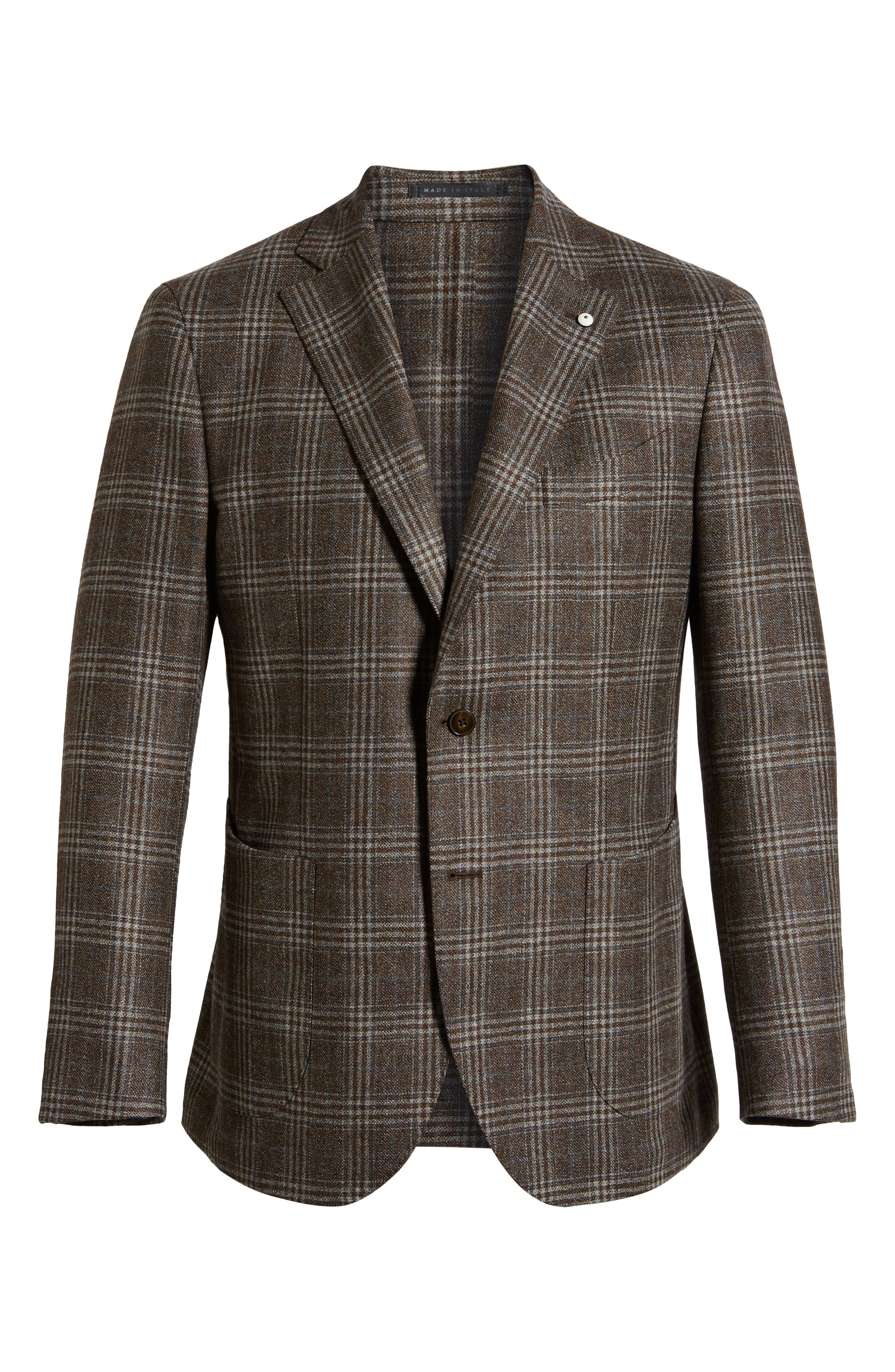 L.B.M 1911 Classic Fit Plaid Wool Sport Coat,                             Alternate thumbnail 5, color,                             BROWN