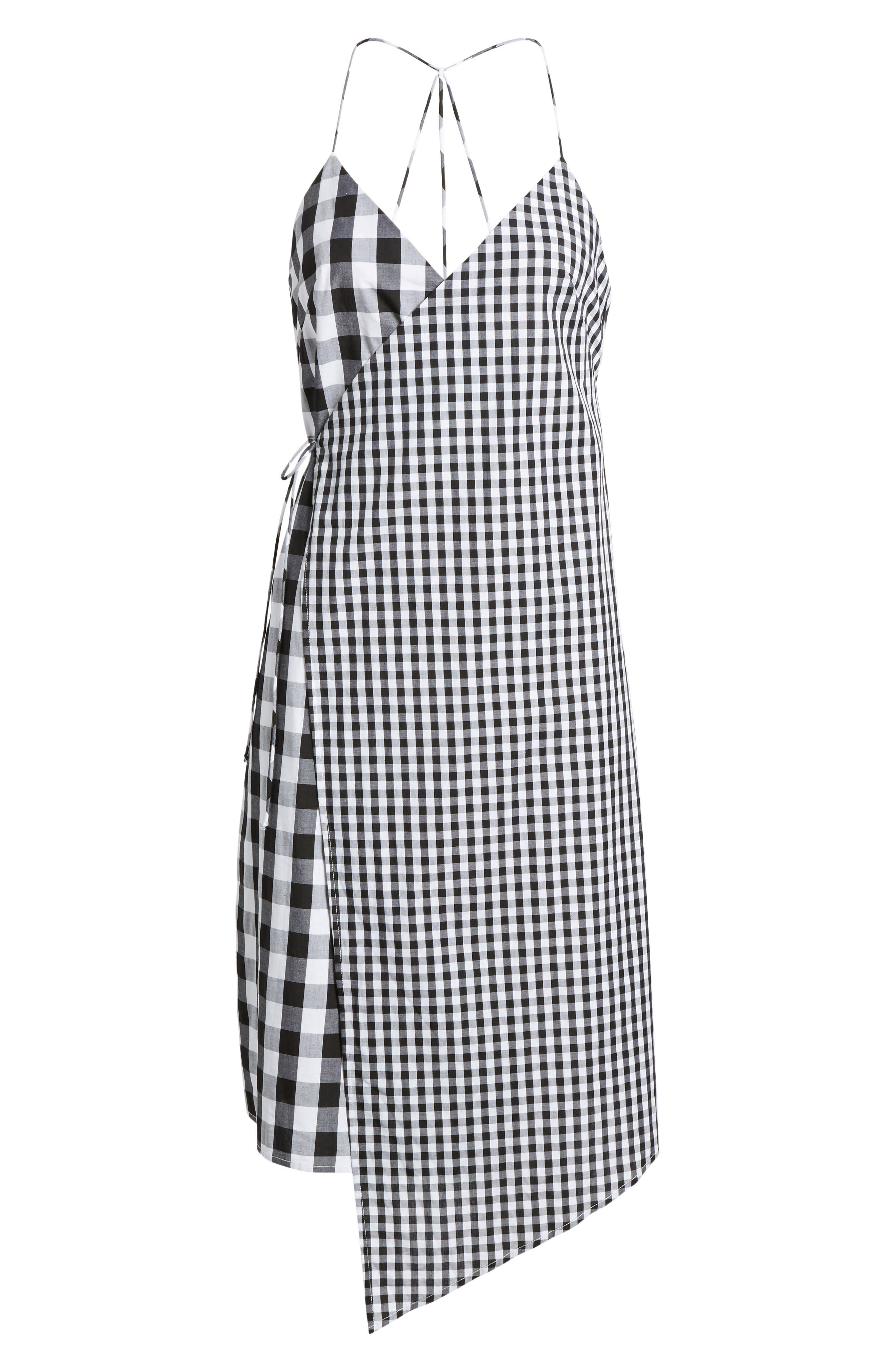Mixed Gingham Print Wrap Dress,                             Alternate thumbnail 6, color,                             001