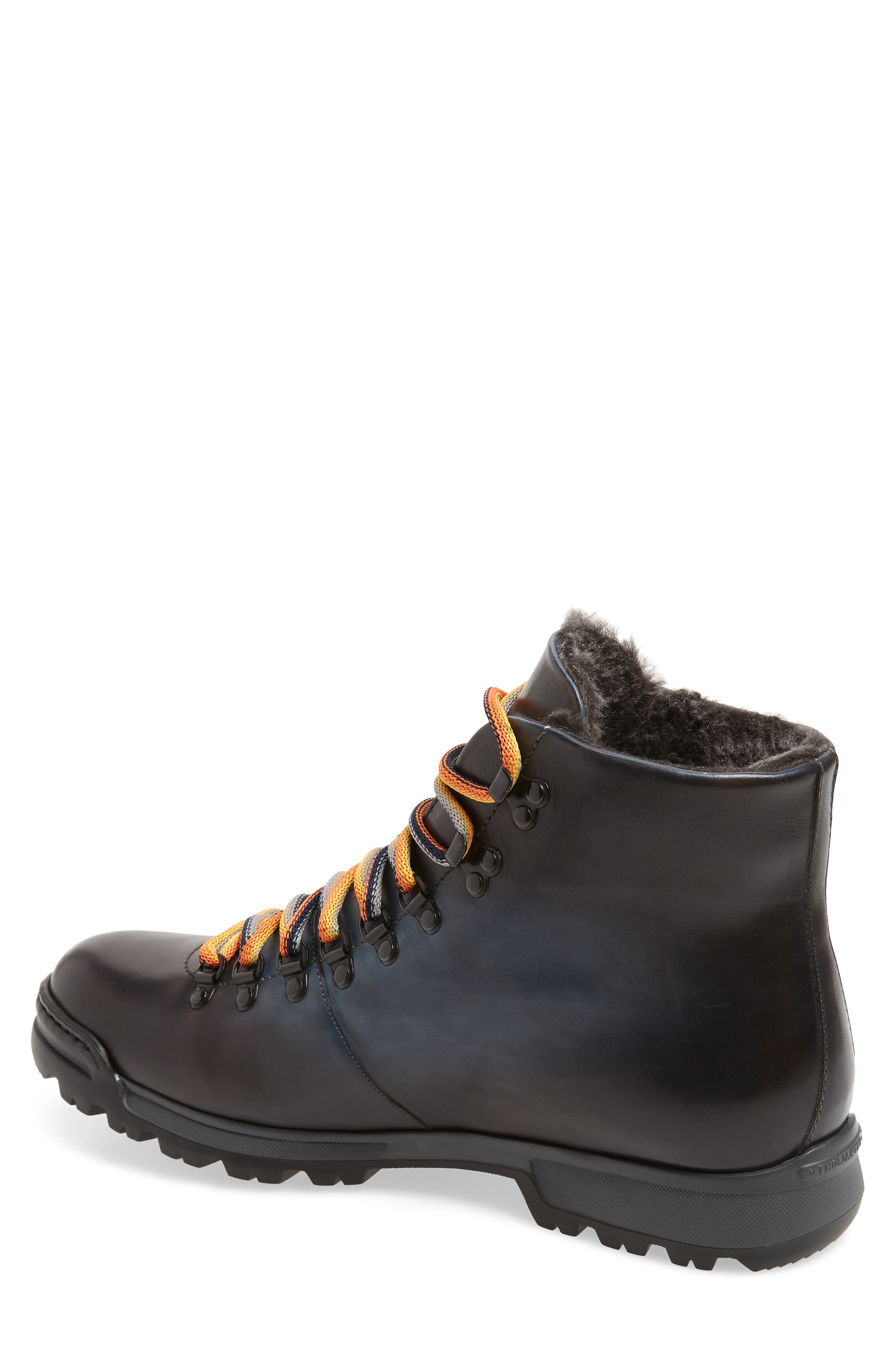 Oberon Genuine Shearling Lace-Up Hiking Boot,                             Alternate thumbnail 2, color,                             NAVY LEATHER