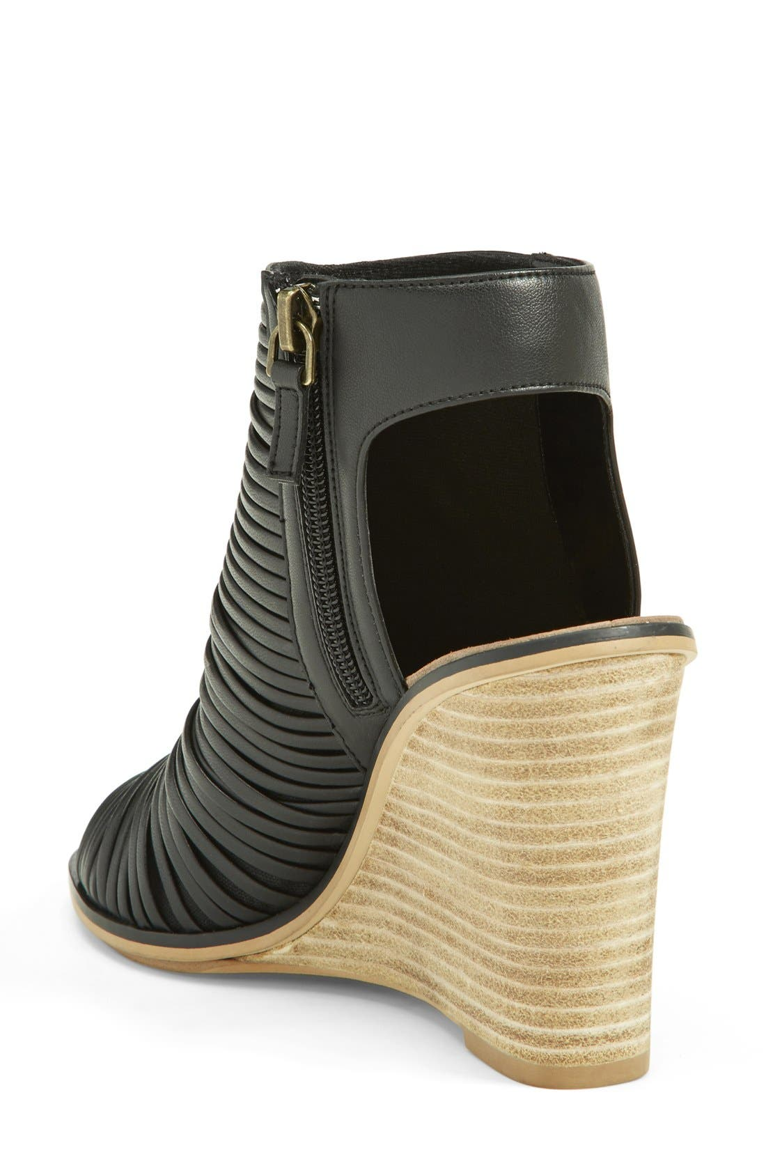'Turner' Open Toe Wedge Bootie,                             Alternate thumbnail 4, color,                             003