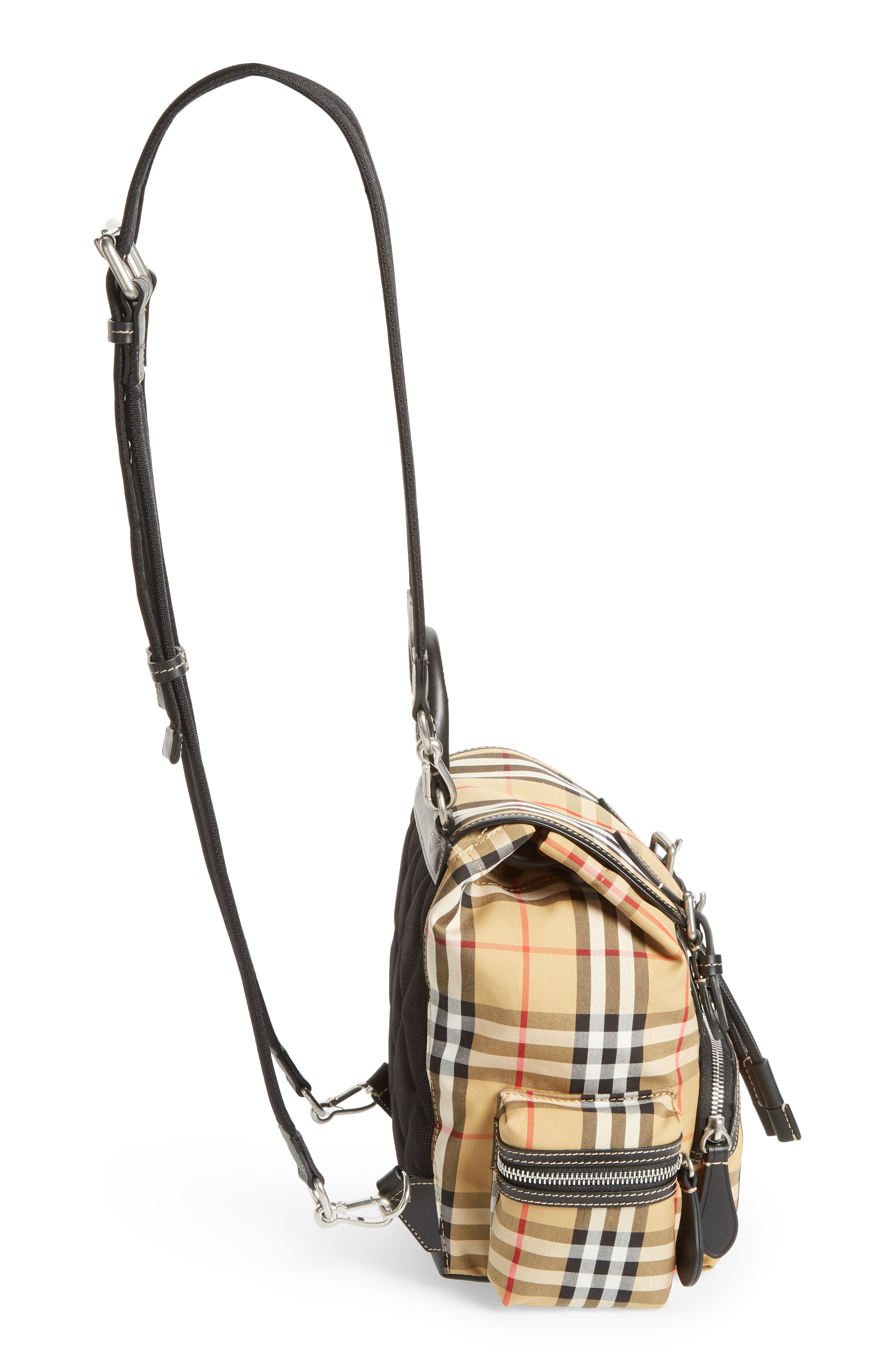 Small Rucksack Check Cotton Backpack,                             Alternate thumbnail 5, color,                             ANTIQUE YELLOW