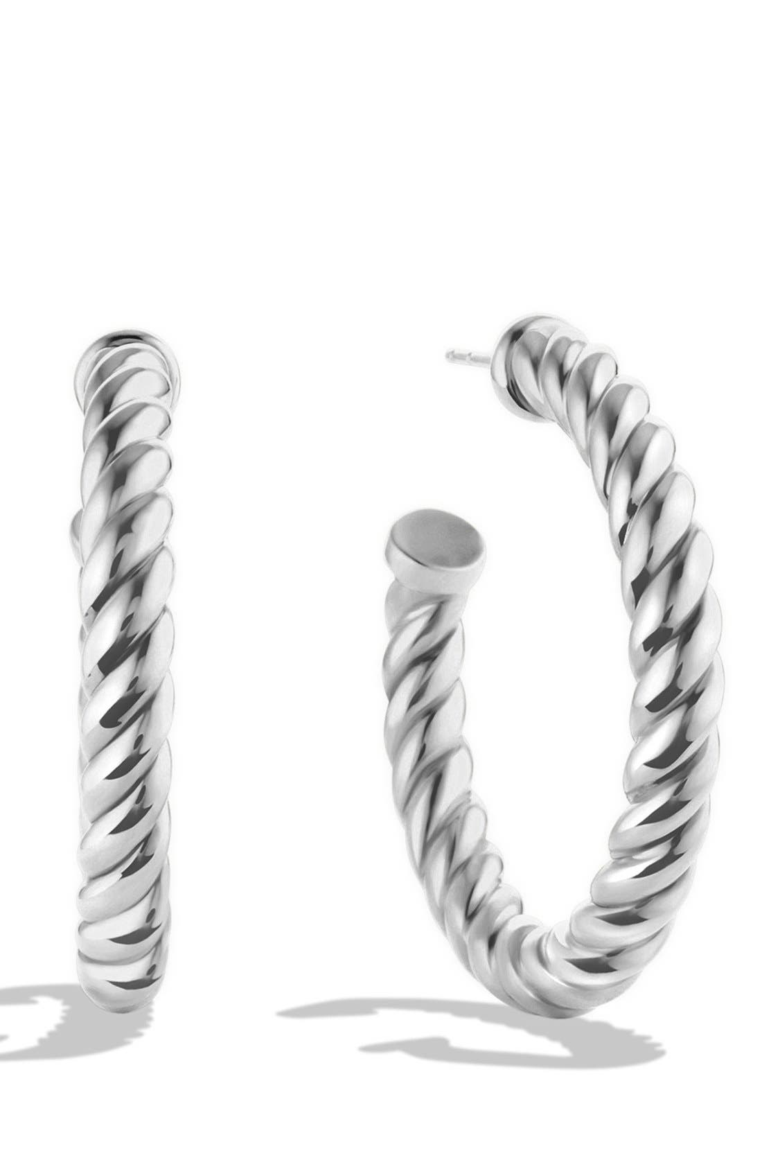 DAVID YURMAN,                             'Cable Classics' Hoop Earrings,                             Main thumbnail 1, color,                             SILVER