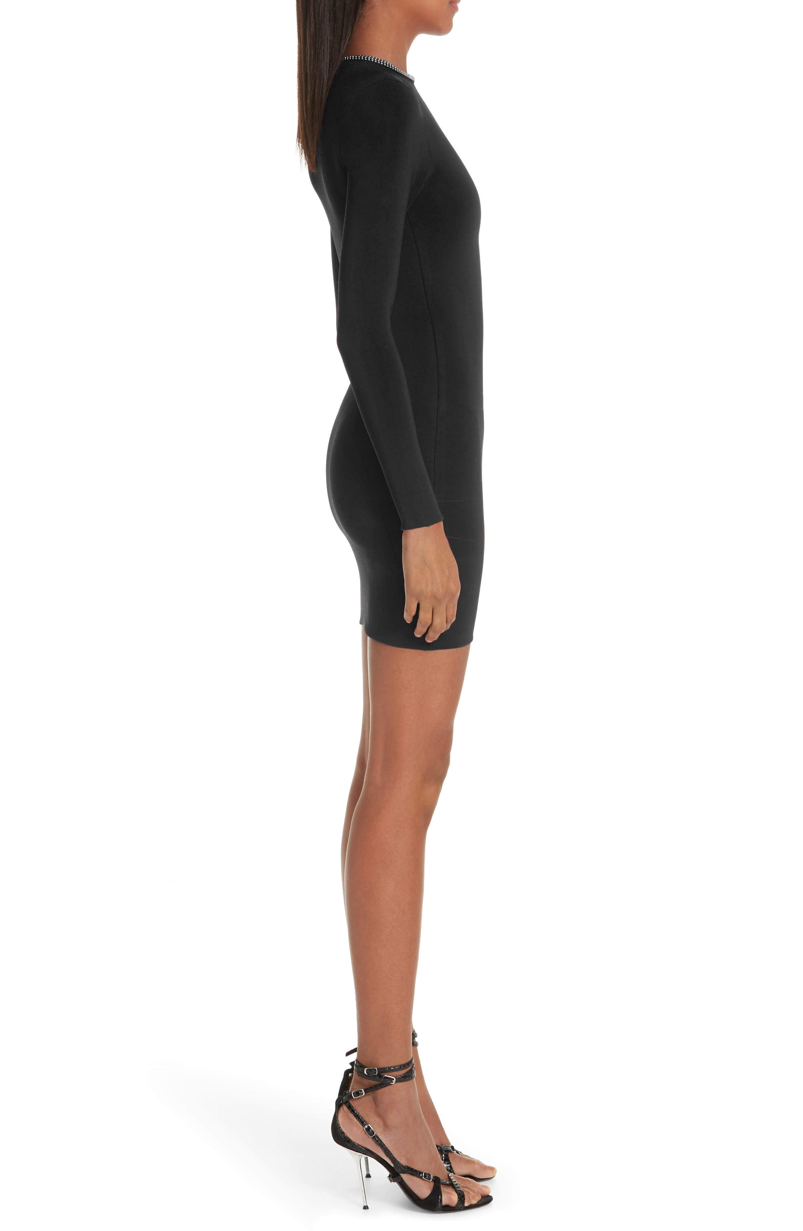 Ball Chain Trim Body-Con Dress,                             Alternate thumbnail 3, color,                             BLACK
