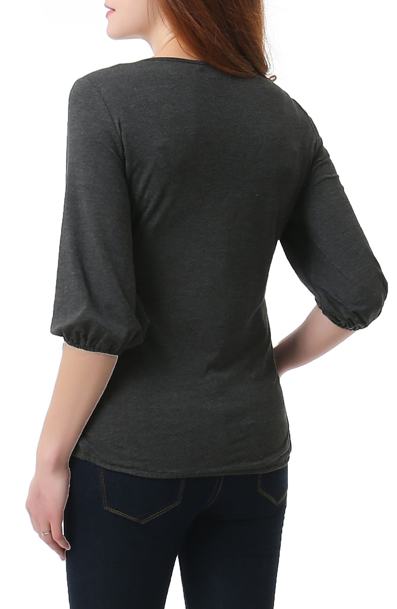 Dome Nursing/Maternity Top,                             Alternate thumbnail 2, color,                             DARK HEATHER GRAY