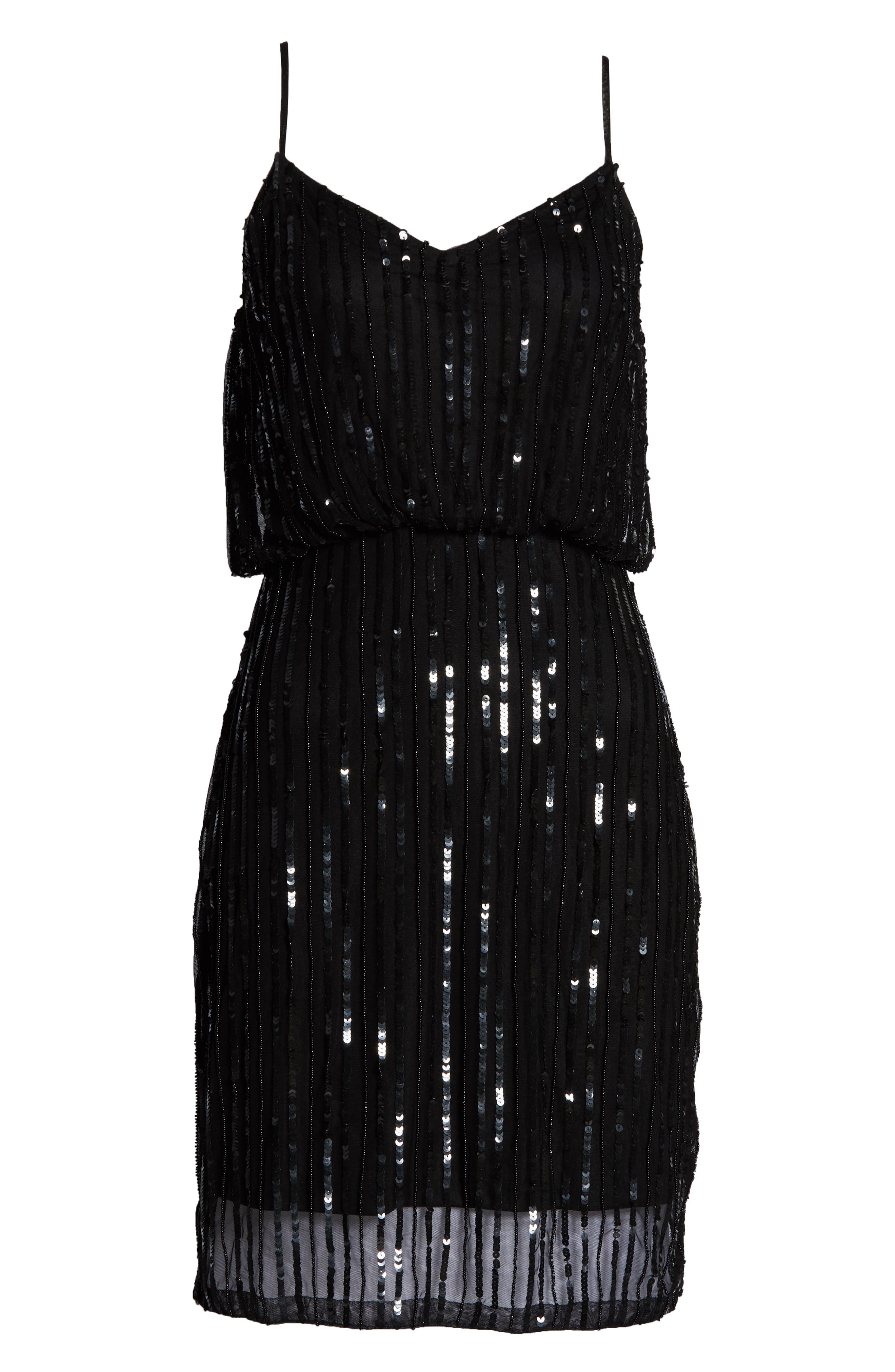 FRENCH CONNECTION,                             Aster Shine Slipdress,                             Alternate thumbnail 6, color,                             AASTER BLACK/ BLACK