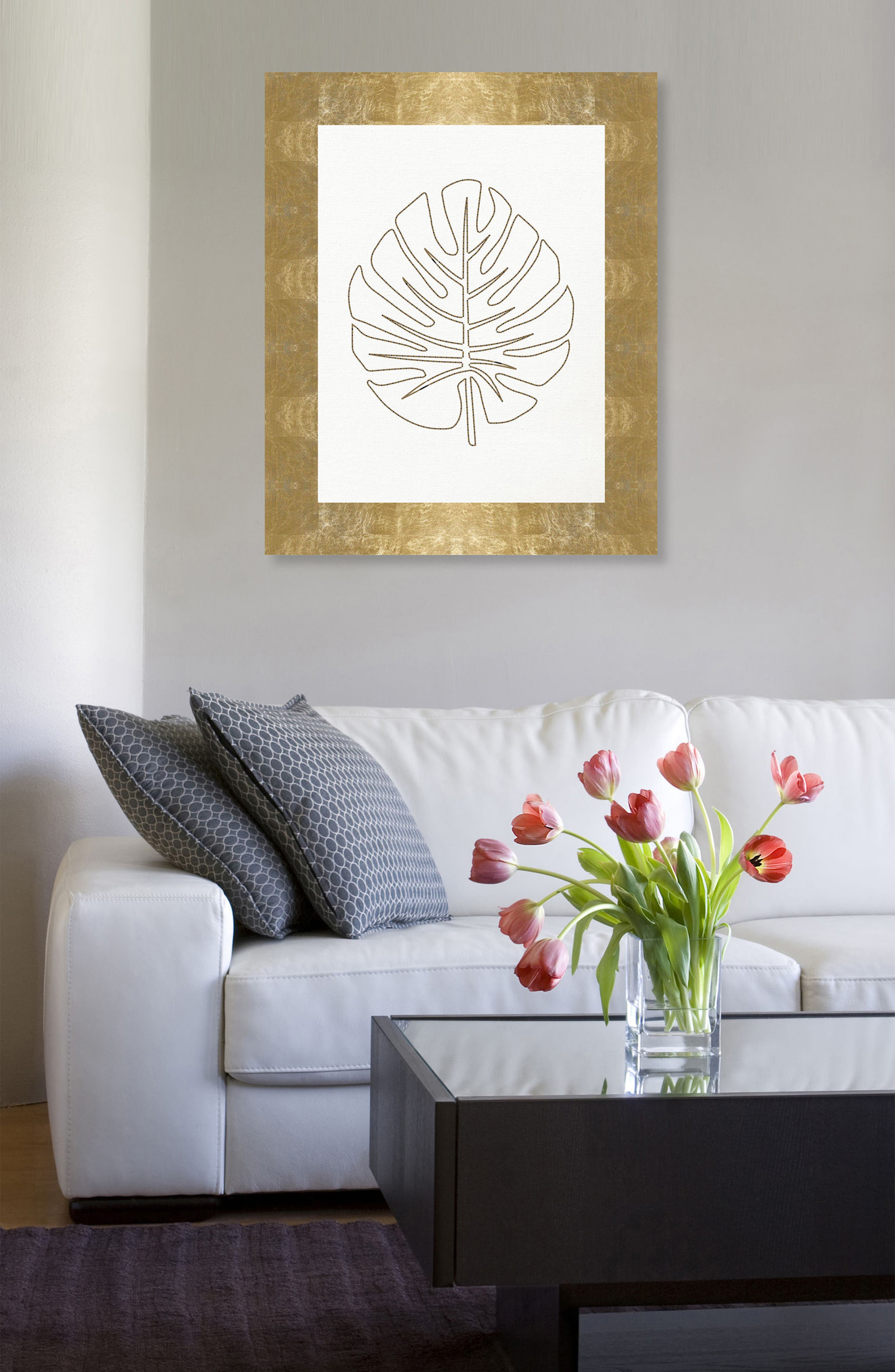 Stitched Palm Leaf I Canvas Wall Art,                             Alternate thumbnail 2, color,