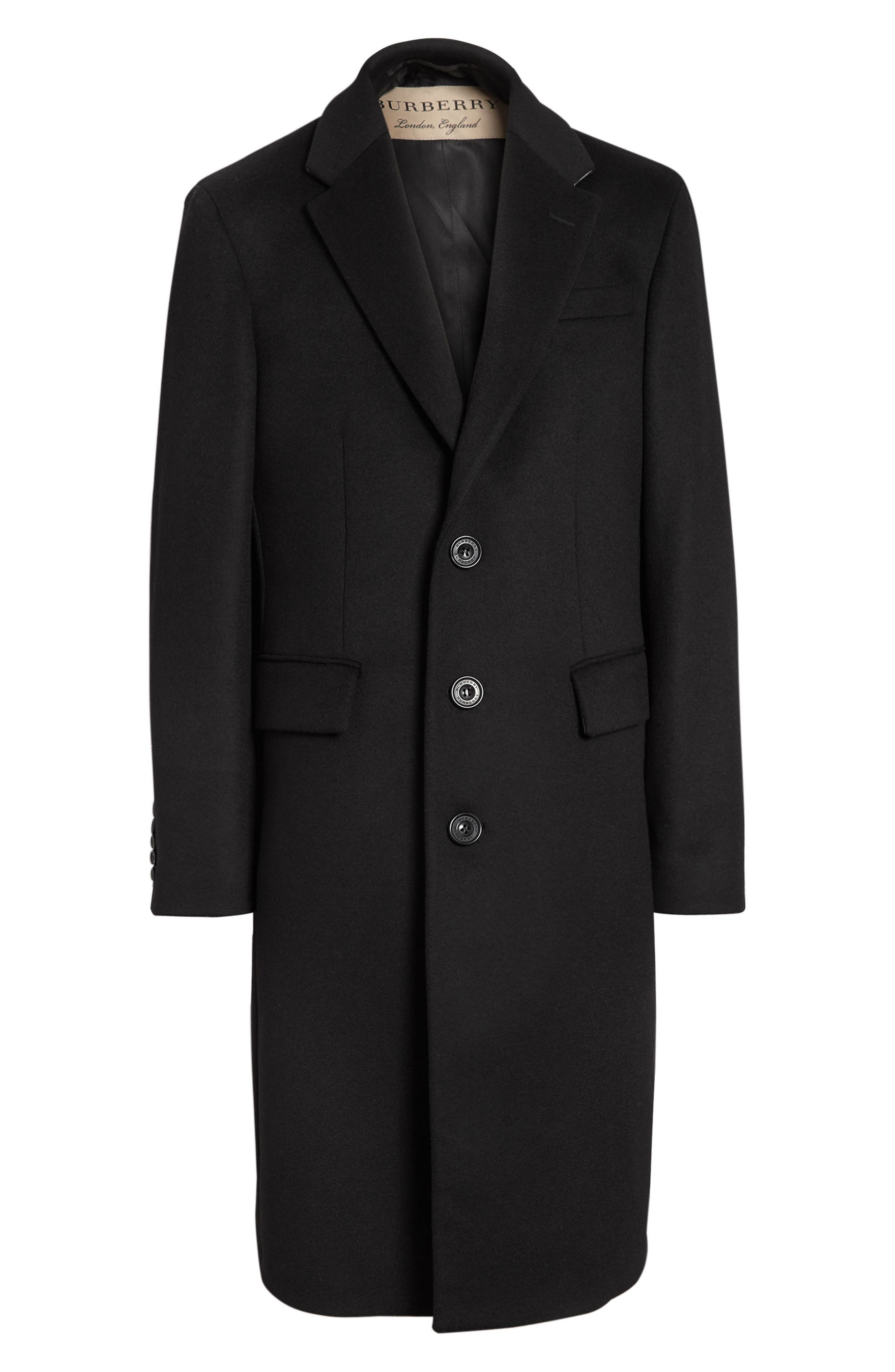 BURBERRY,                             Halesowen Wool and Cashmere Overcoat,                             Alternate thumbnail 4, color,                             001