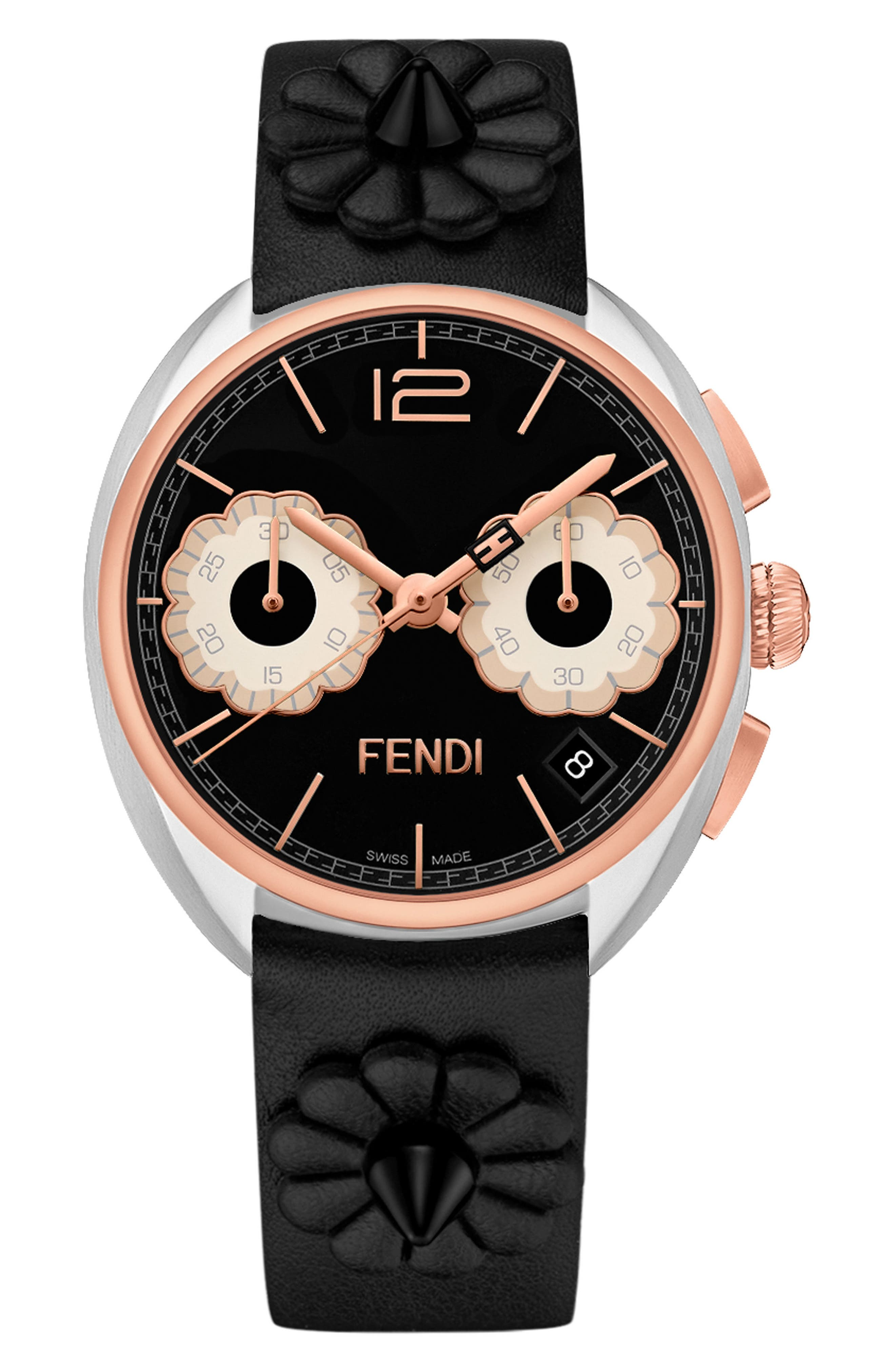 Momento Floral Chronograph Leather Strap Watch, 40mm,                         Main,                         color, BLACK/ SILVER/ ROSE GOLD