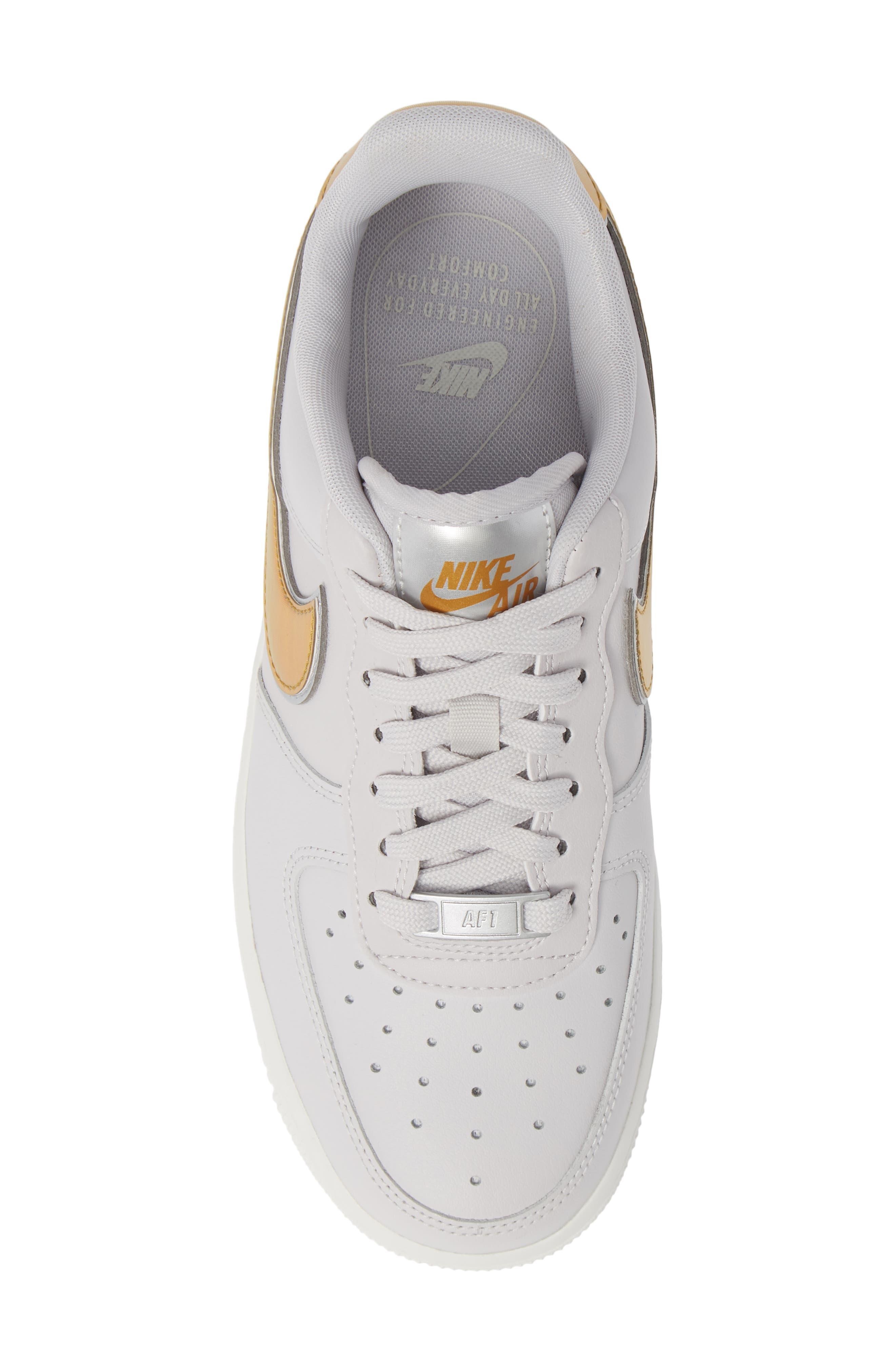 Air Force 1 '07 Premium Sneaker,                             Alternate thumbnail 5, color,                             GREY/ METALLIC GOLD- WHITE