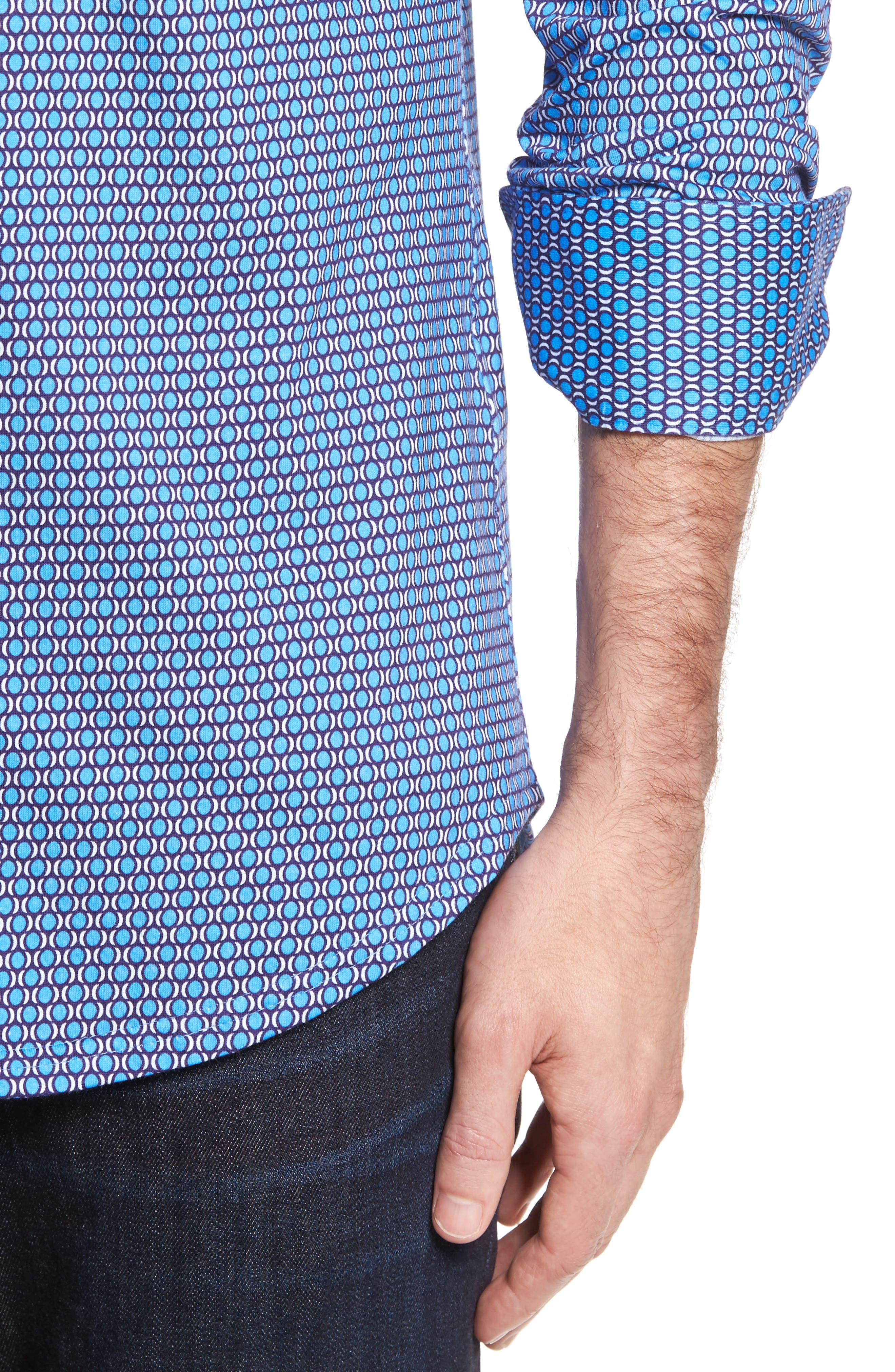 Slim Fit Geo Knit Sport Shirt,                             Alternate thumbnail 4, color,                             430