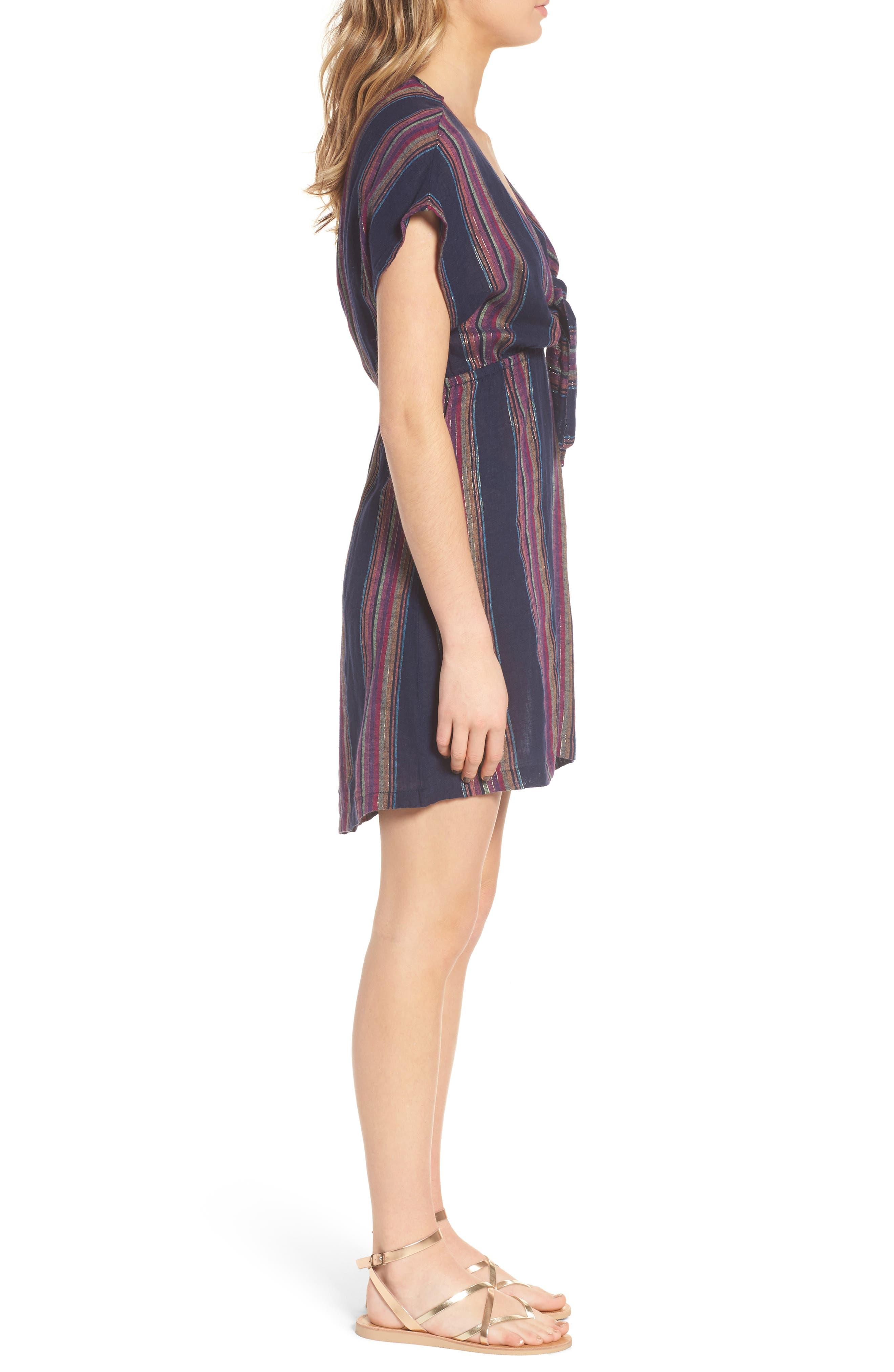 Tie Front Dress,                             Alternate thumbnail 3, color,                             TRINIDAD STRIPE