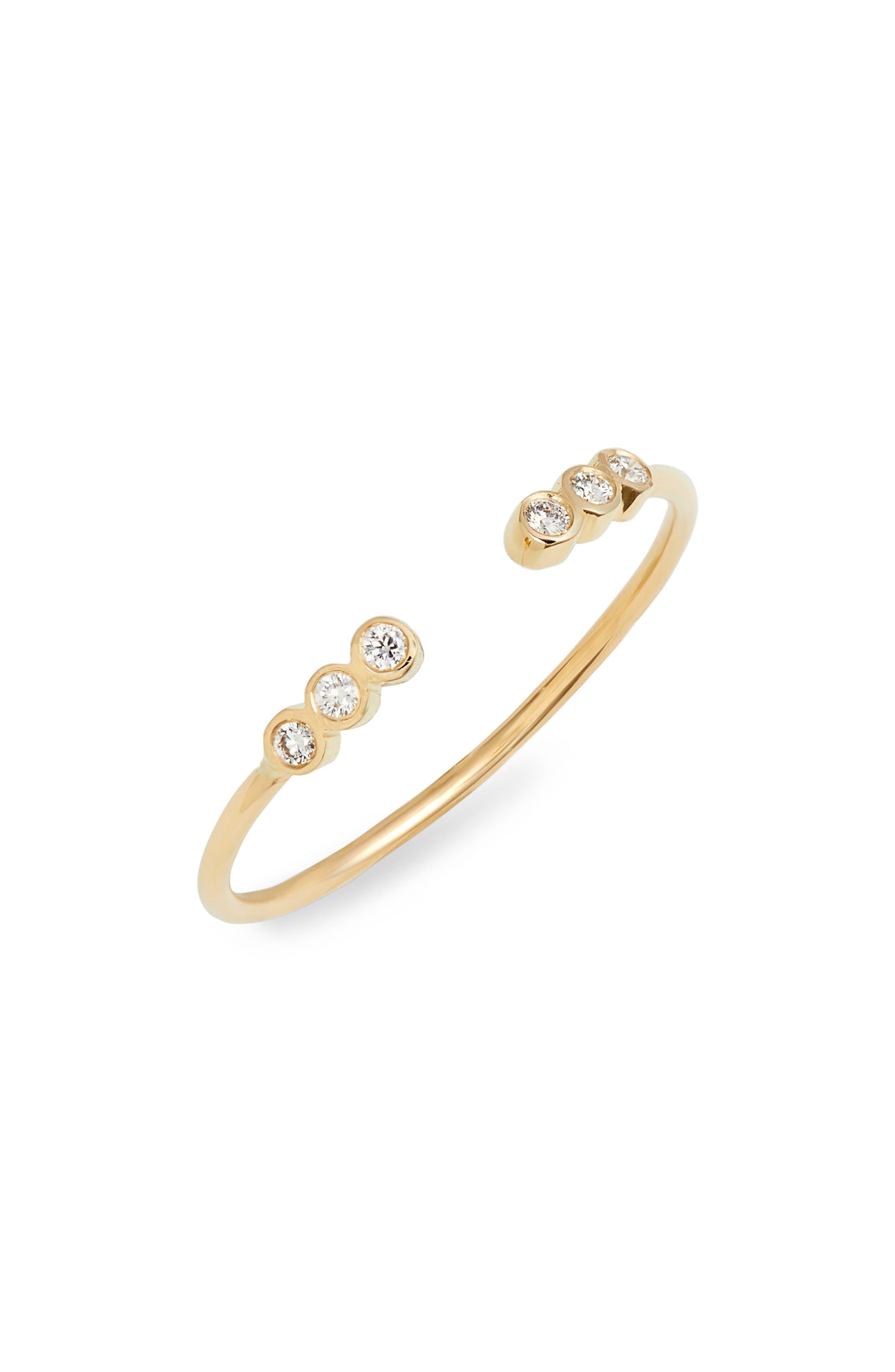 Six Diamond Bezel Open Stackable Ring,                             Main thumbnail 1, color,                             YELLOW GOLD