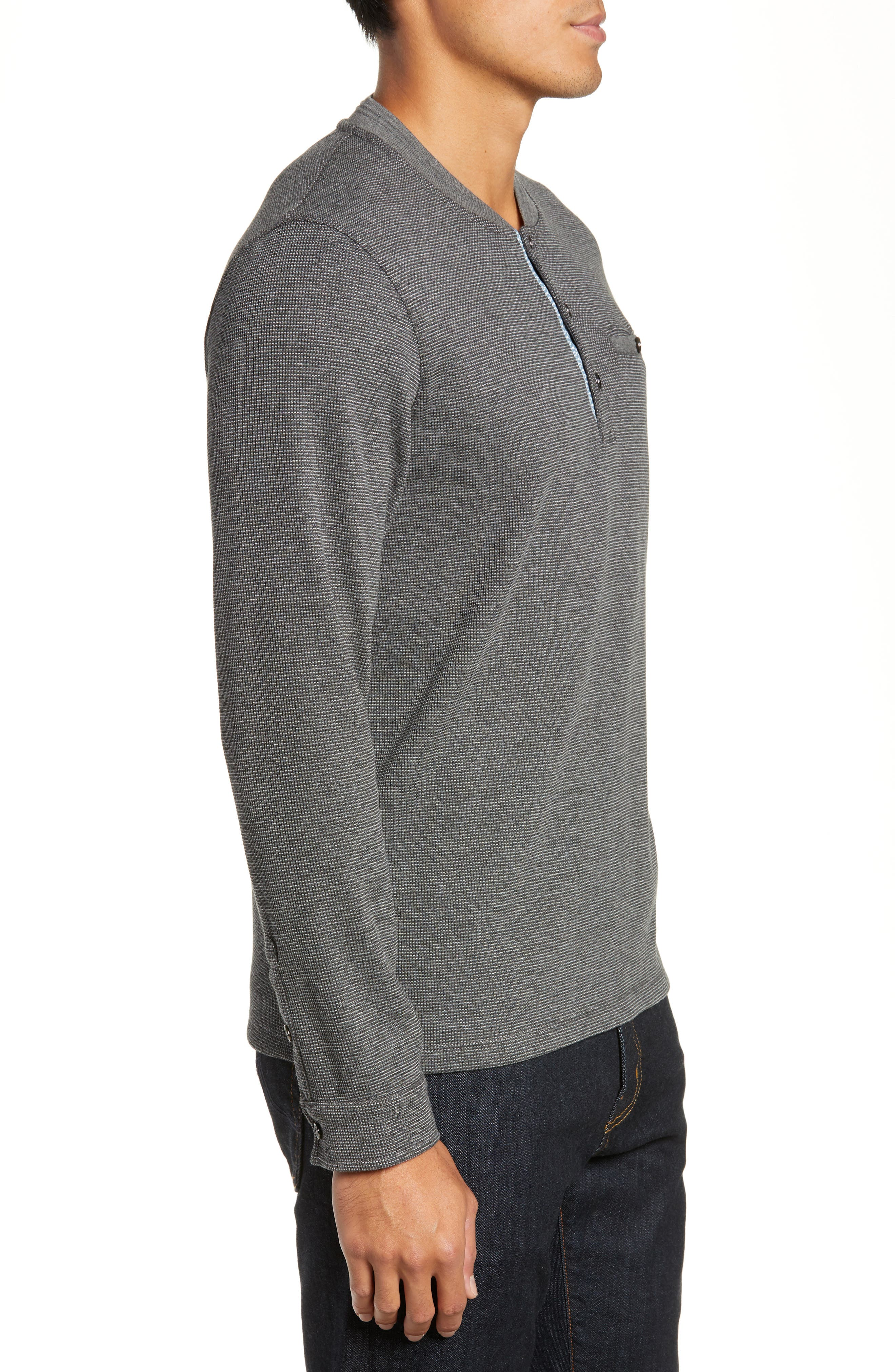 Slim Fit Mojave Thermal Pocket Henley,                             Alternate thumbnail 3, color,                             CHARCOAL