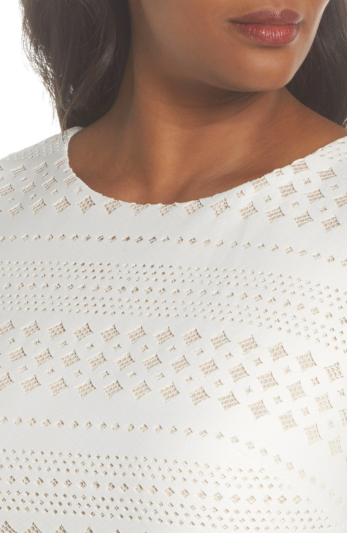 Lasercut Sheath Dress,                             Alternate thumbnail 4, color,