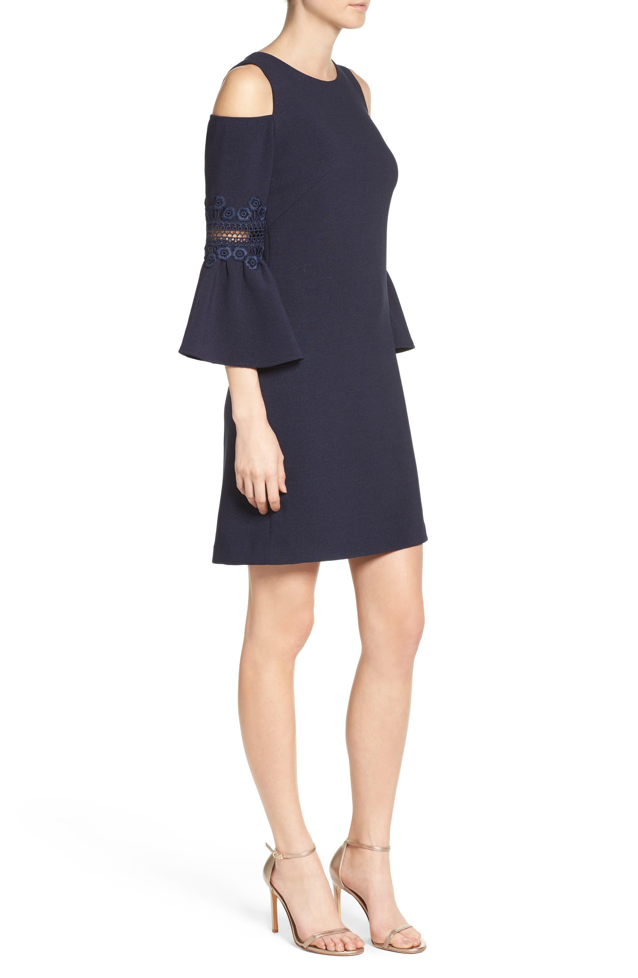 Lace Appliqué Crepe Cold Shoulder Dress,                             Alternate thumbnail 3, color,                             410