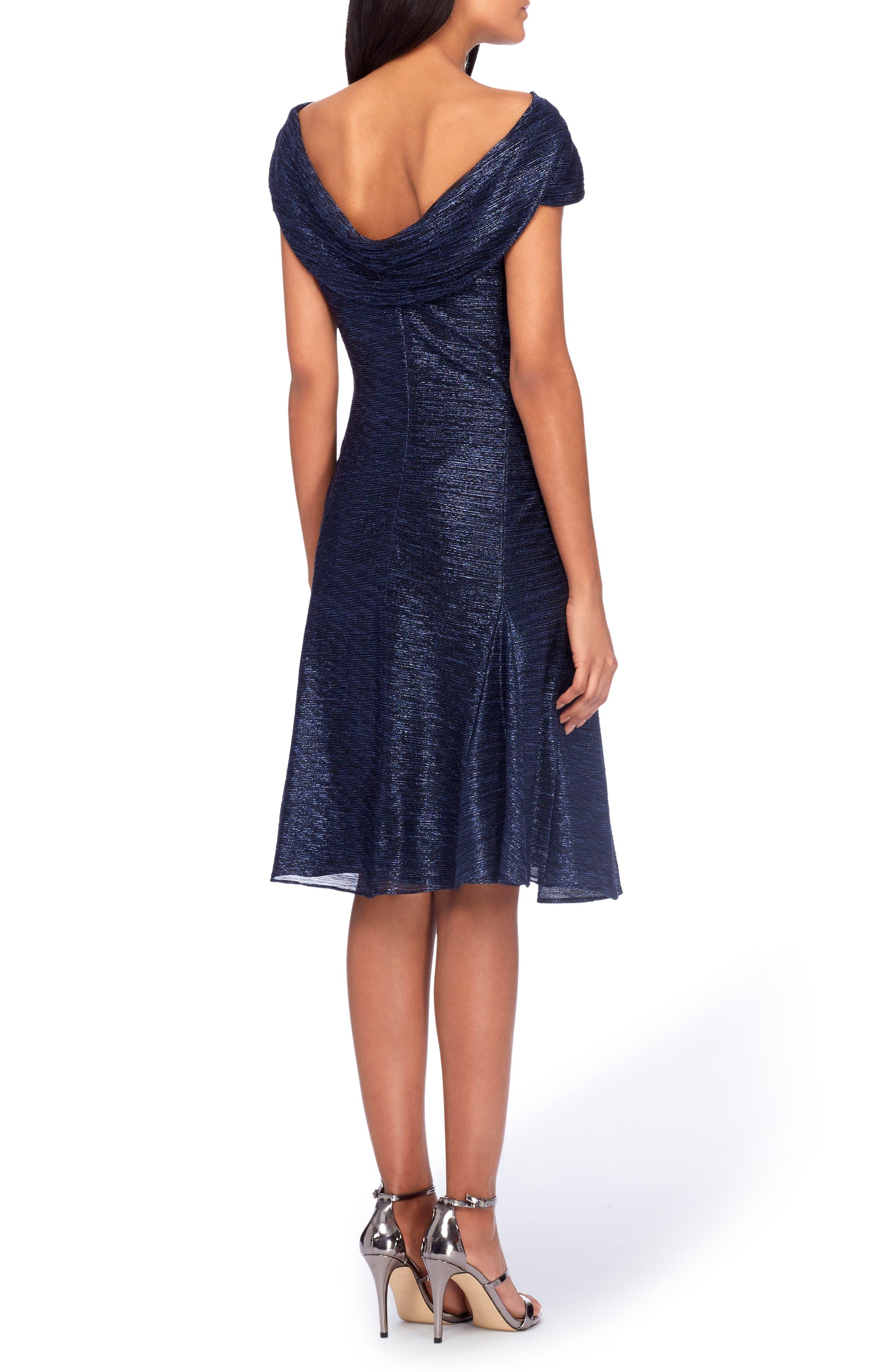 TAHARI,                             Cowl Neck Fit & Flare Dress,                             Alternate thumbnail 2, color,                             412
