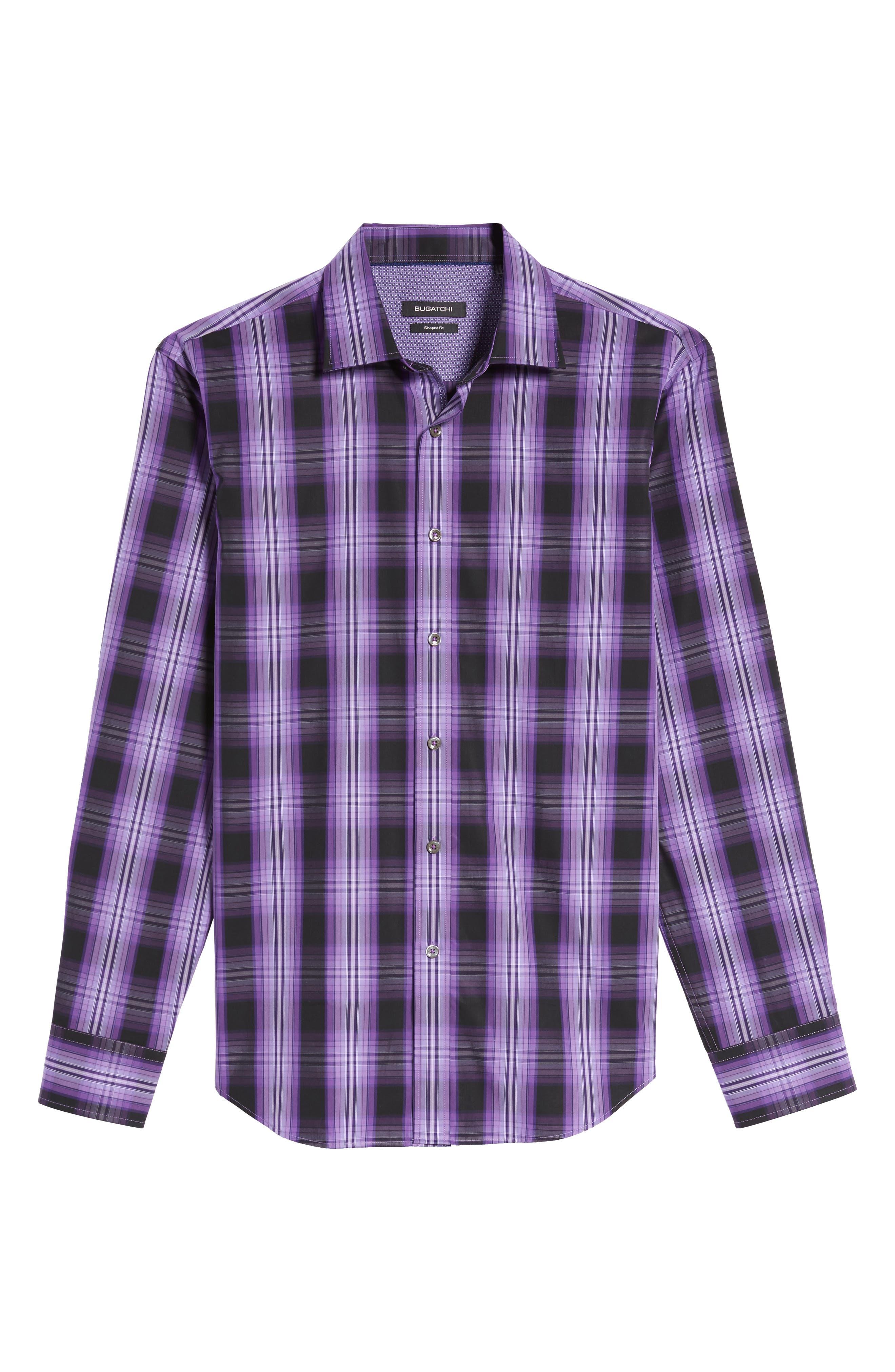 Slim Fit Gradient Plaid Sport Shirt,                             Alternate thumbnail 6, color,                             513