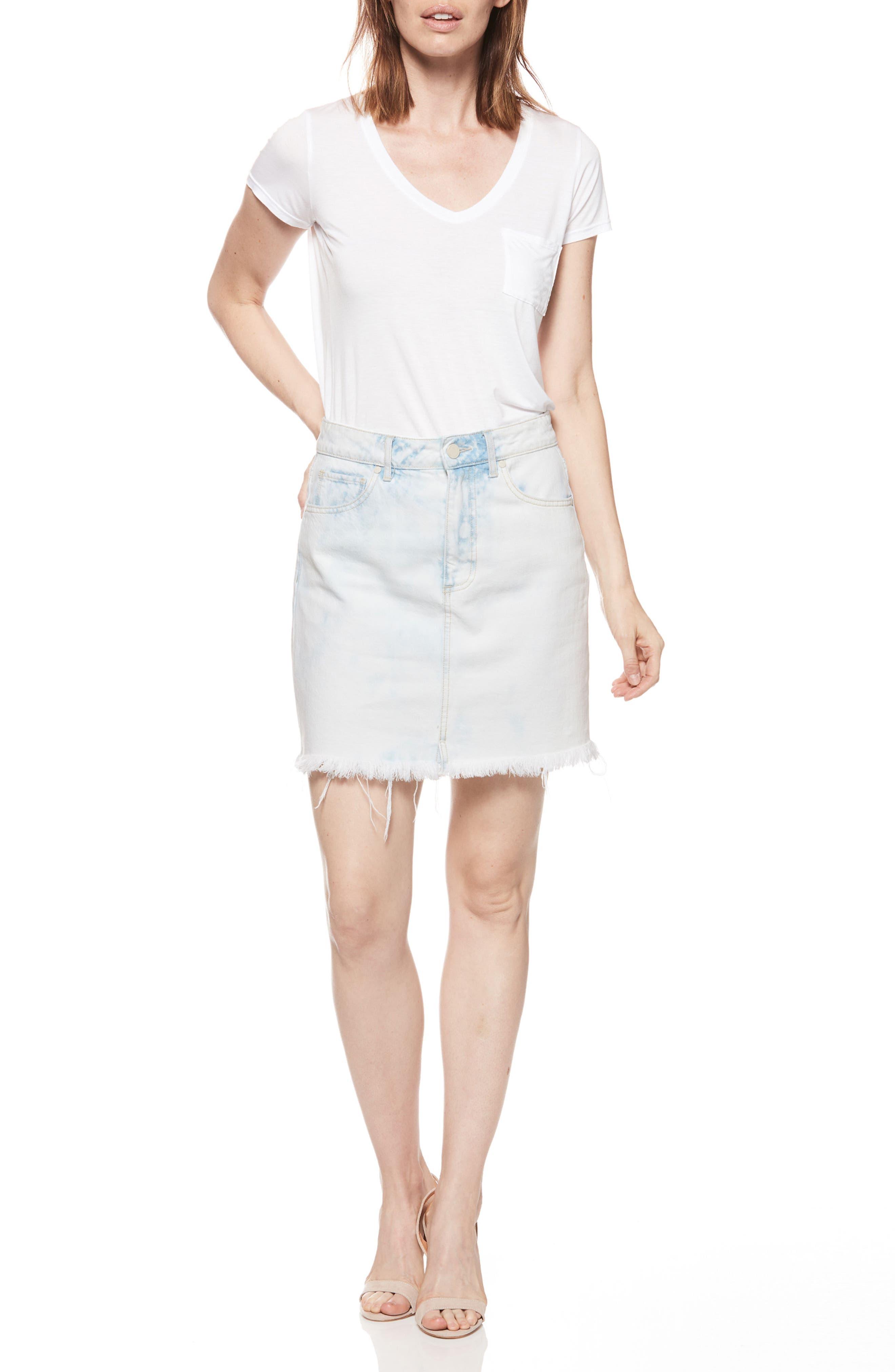 Jamine High Waist Denim Skirt,                             Alternate thumbnail 3, color,                             400