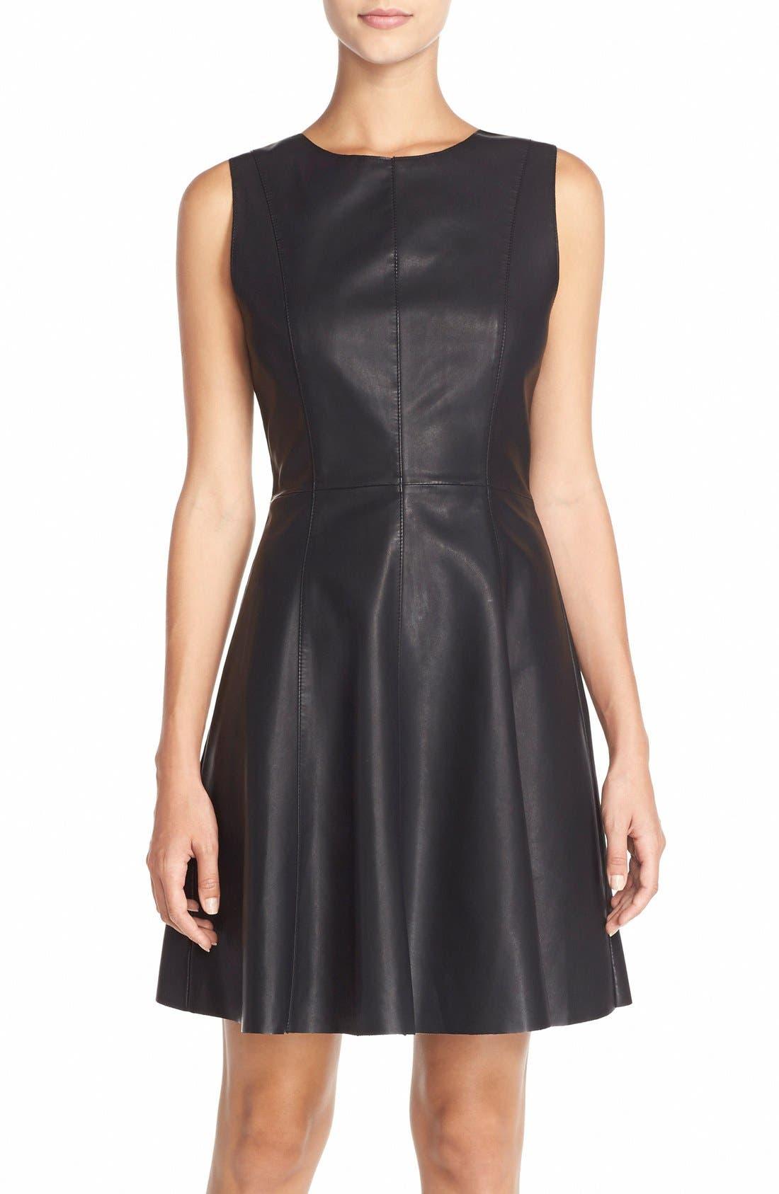 FauxLeather Fit & Flare Dress,                         Main,                         color,