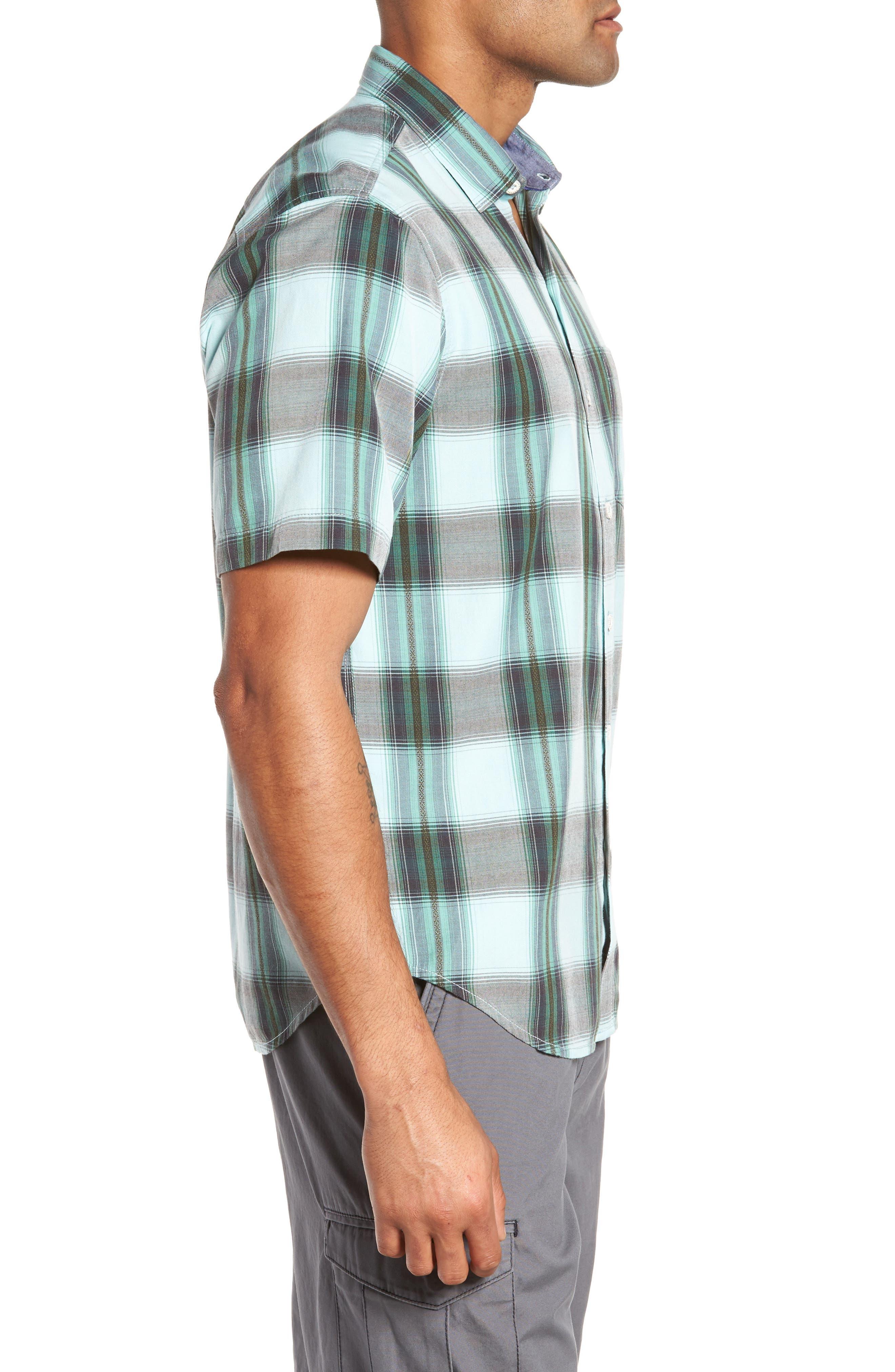 Biscayne Plaid Regular Fit Sport Shirt,                             Alternate thumbnail 3, color,                             350