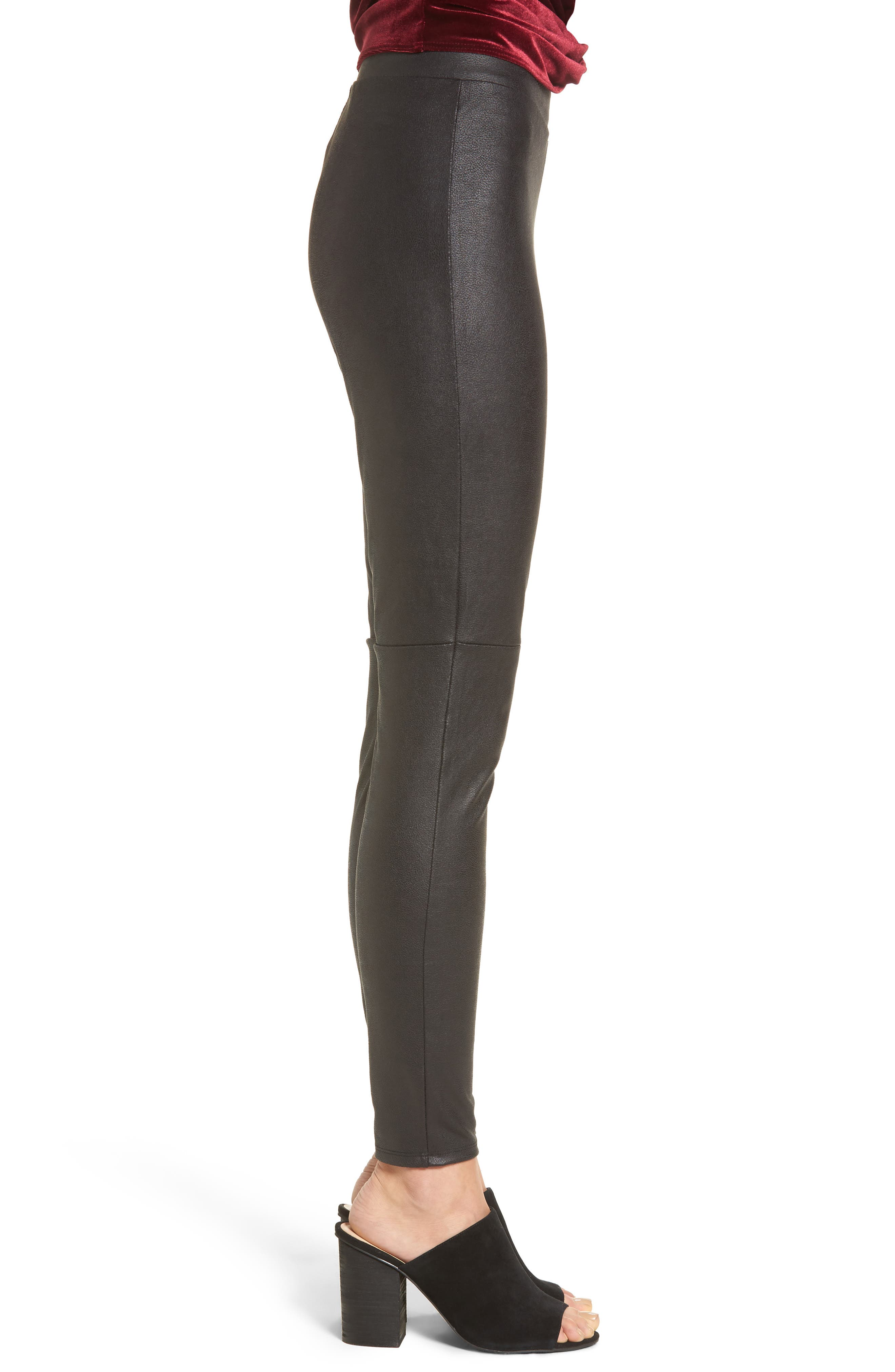 Faux Leather Leggings,                             Alternate thumbnail 3, color,                             001