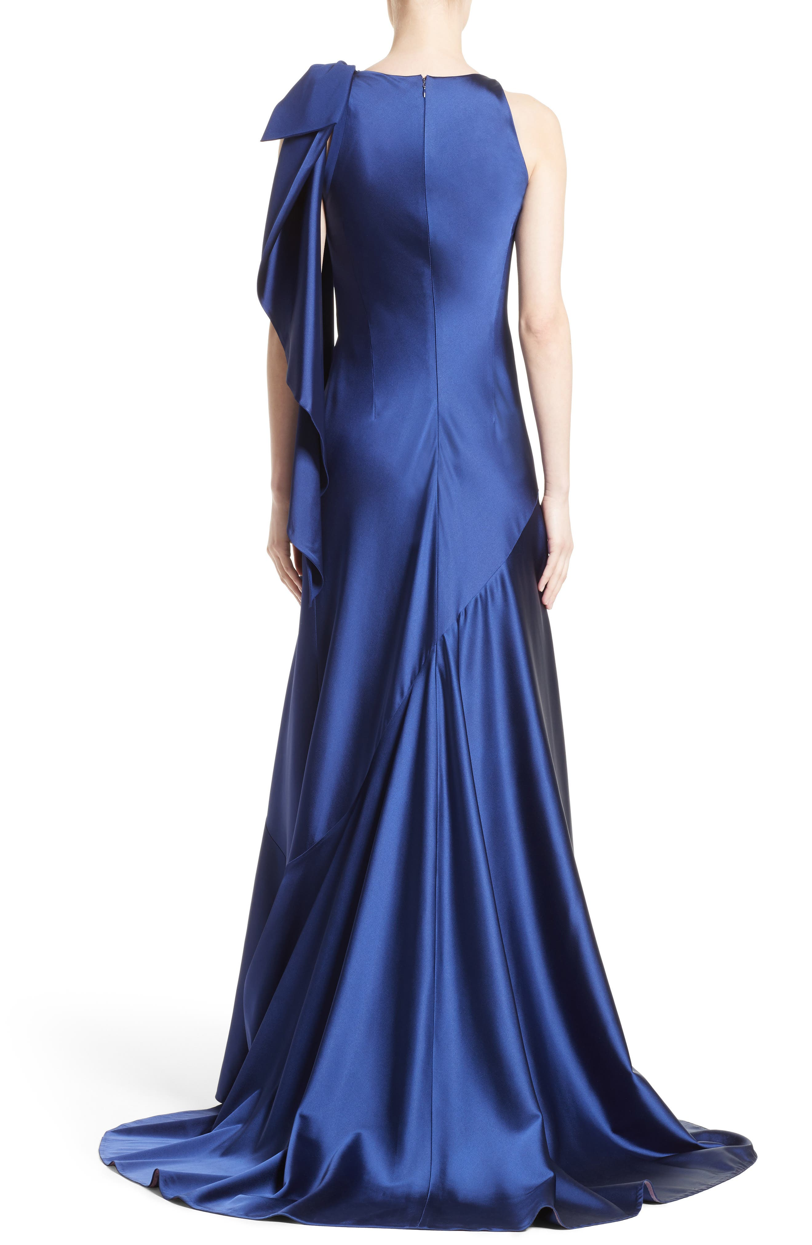 Bow Detail Crepe Satin Gown,                             Alternate thumbnail 2, color,