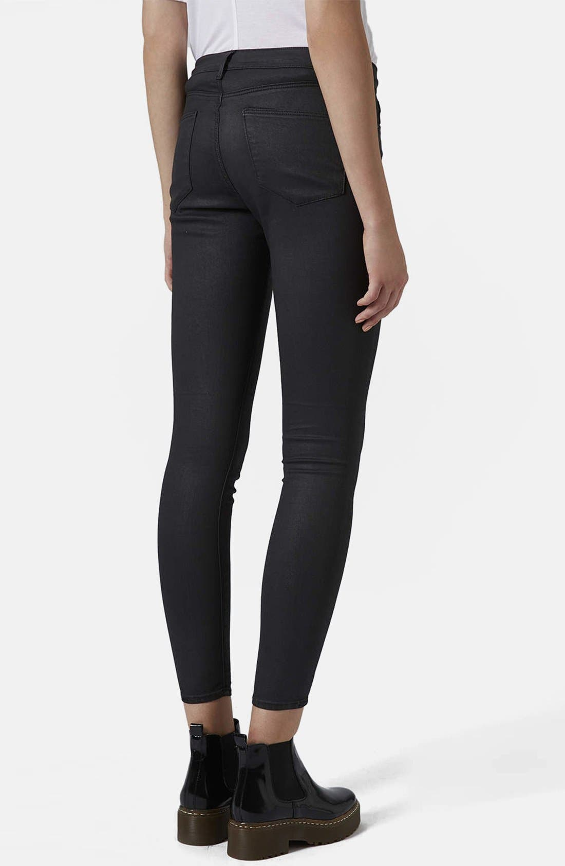 Moto 'Leigh' Coated Skinny Jeans,                             Alternate thumbnail 4, color,                             001