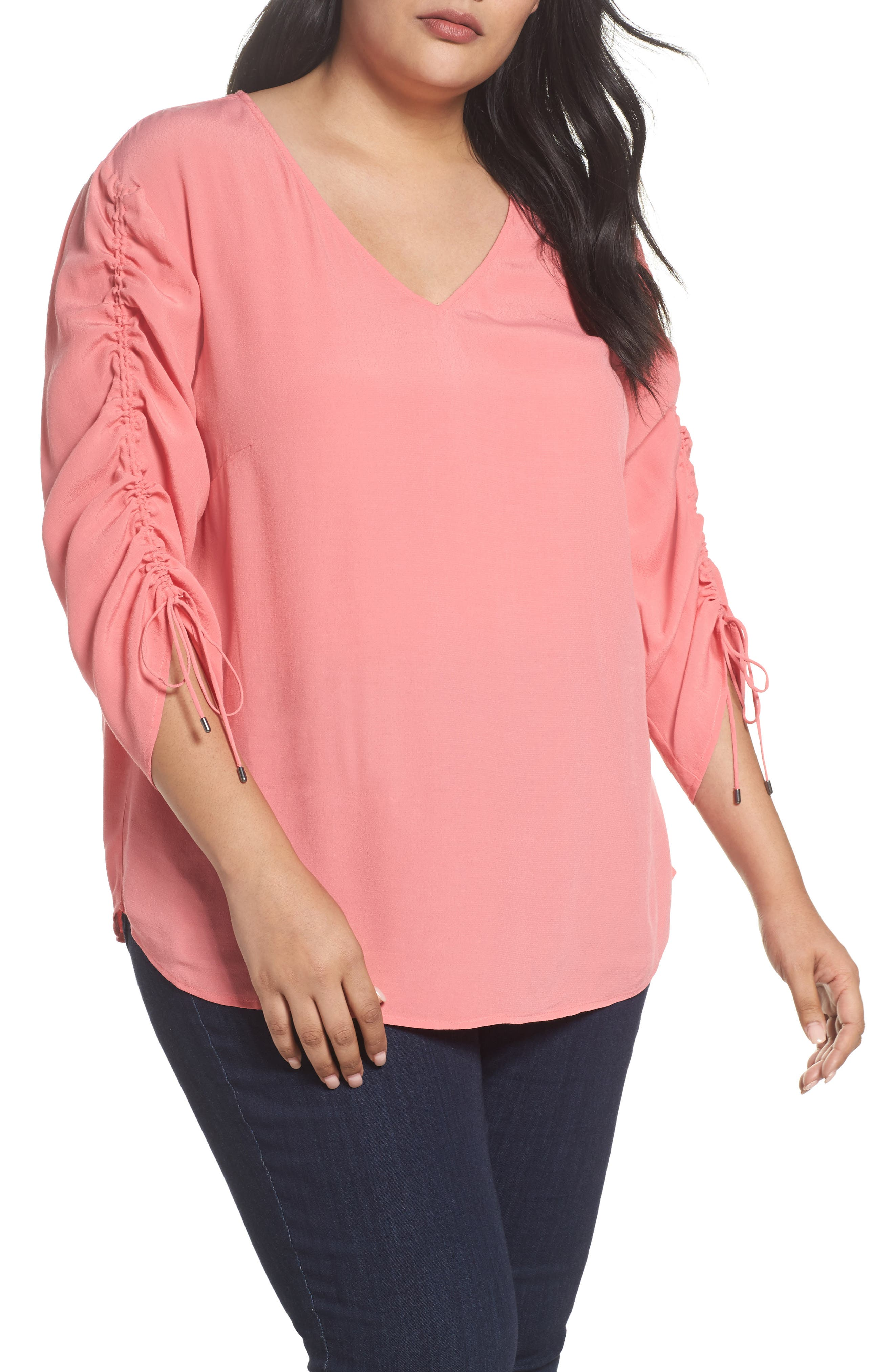 Cinched Sleeve Top,                             Main thumbnail 3, color,