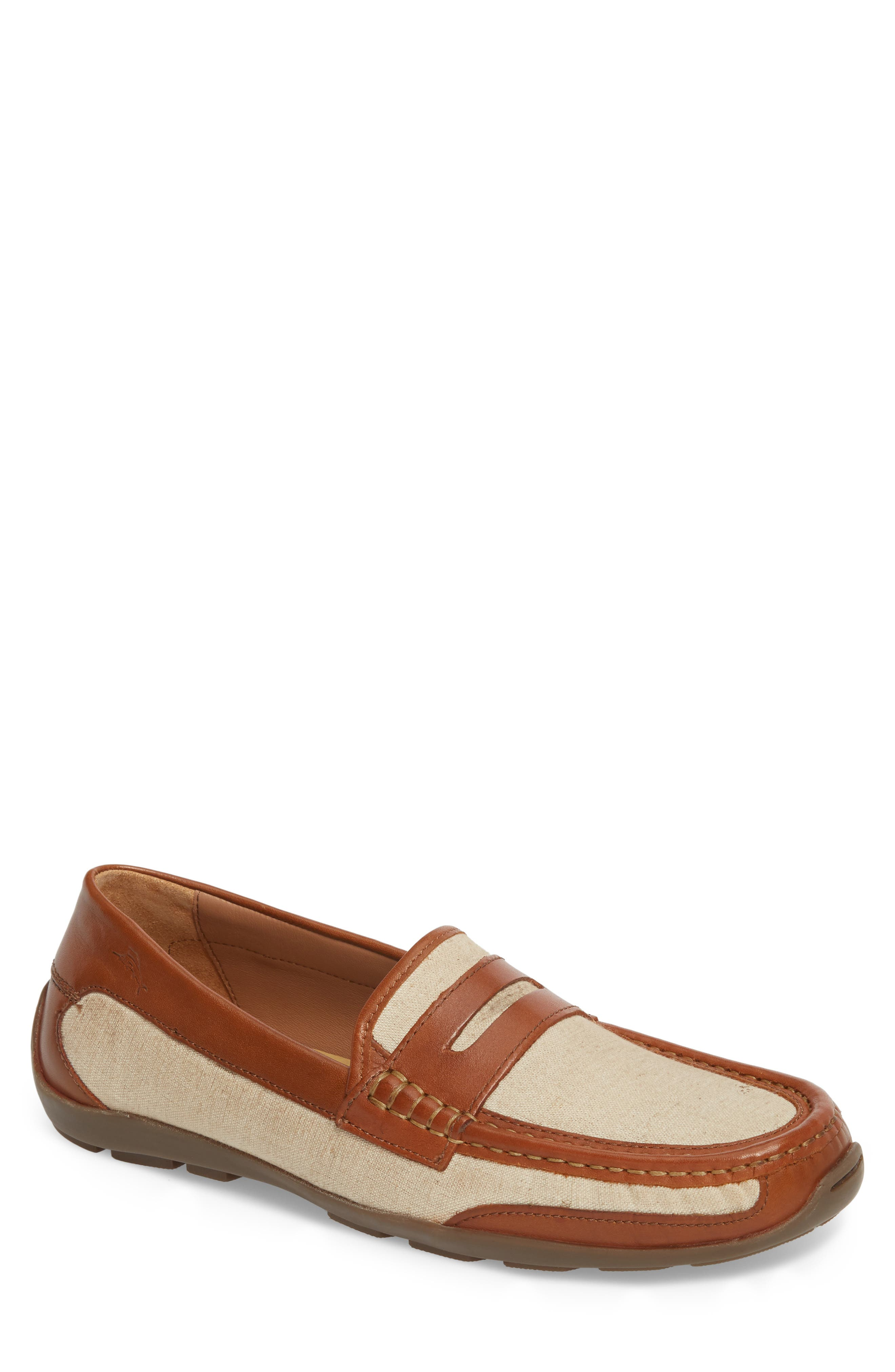 Taza Fronds Driving Shoe,                         Main,                         color, BROWN/ NATURAL LEATHER/ LINEN