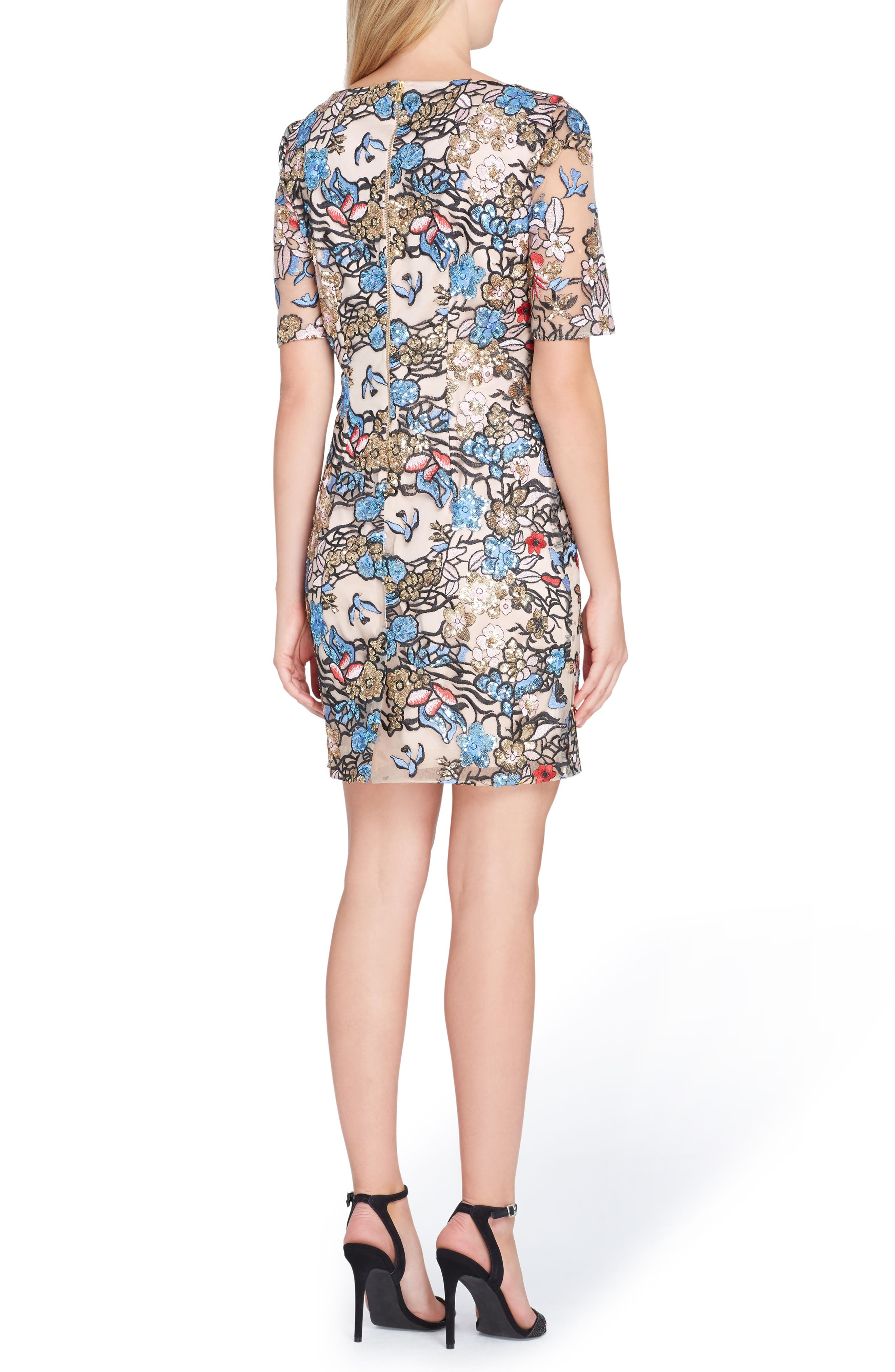 Embroidered Sequin Sheath Dress,                             Alternate thumbnail 2, color,                             678